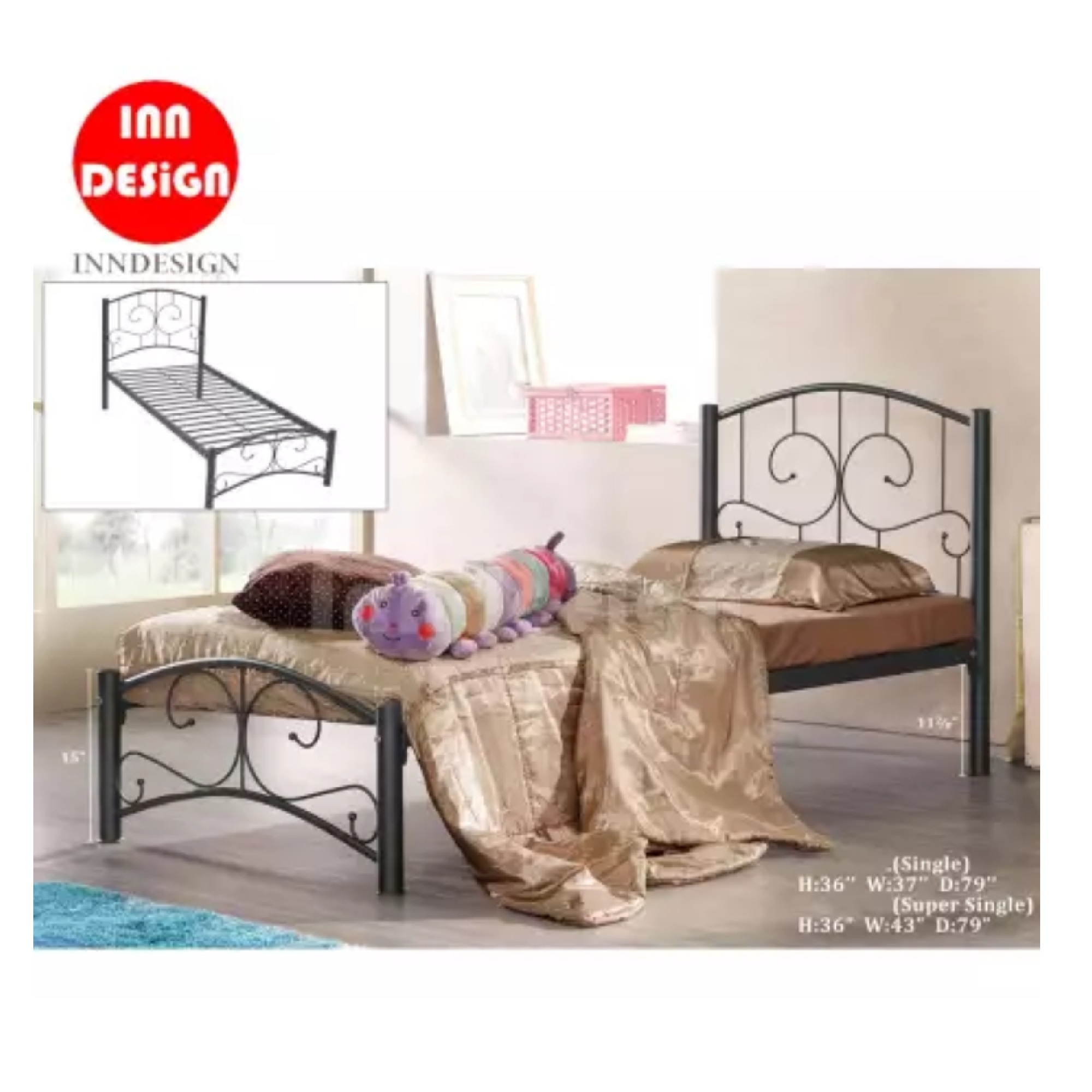 Super Single Metal Bed / Metal Bed Frame (Black)