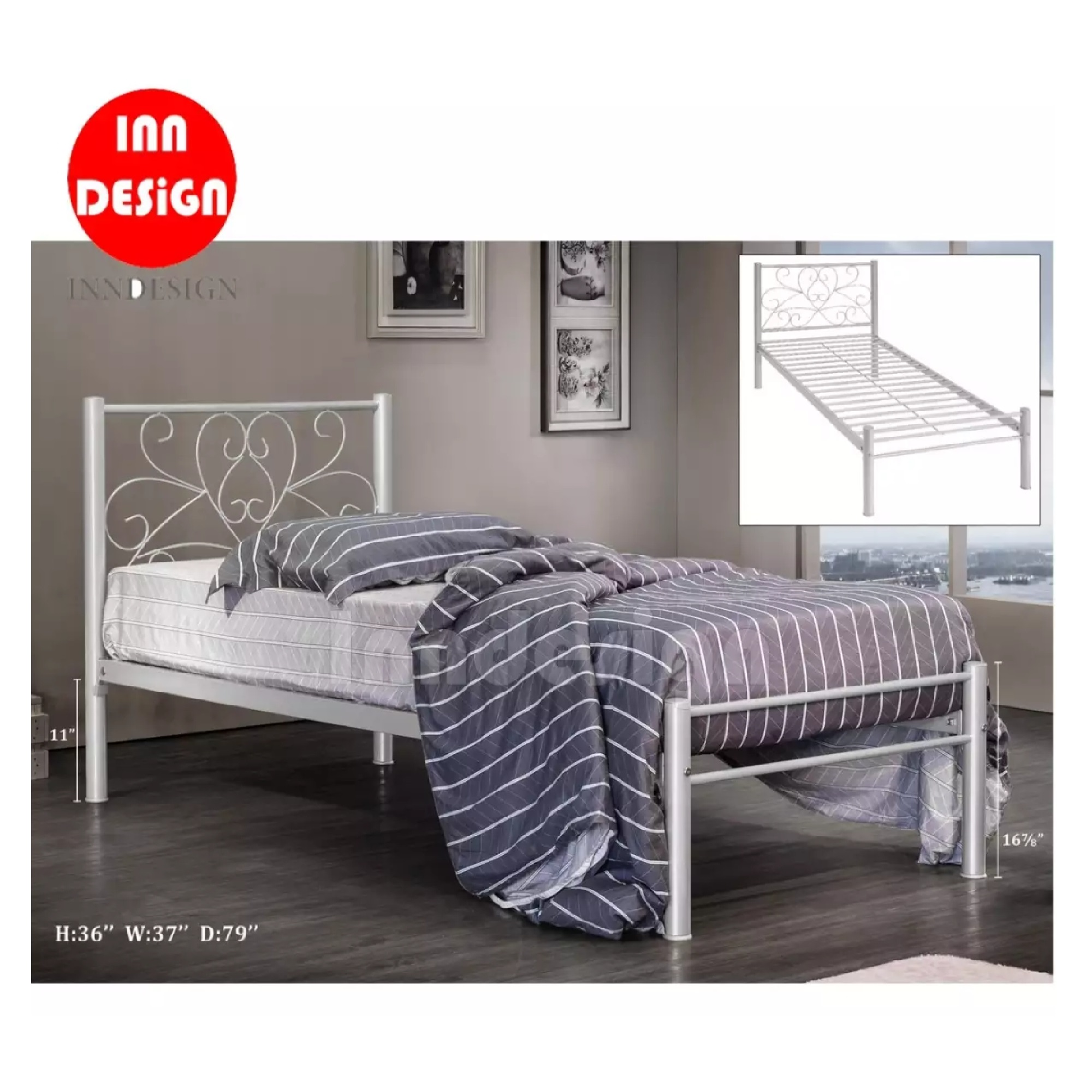 Single Metal Bed / Metal Bed Frame (Silver)