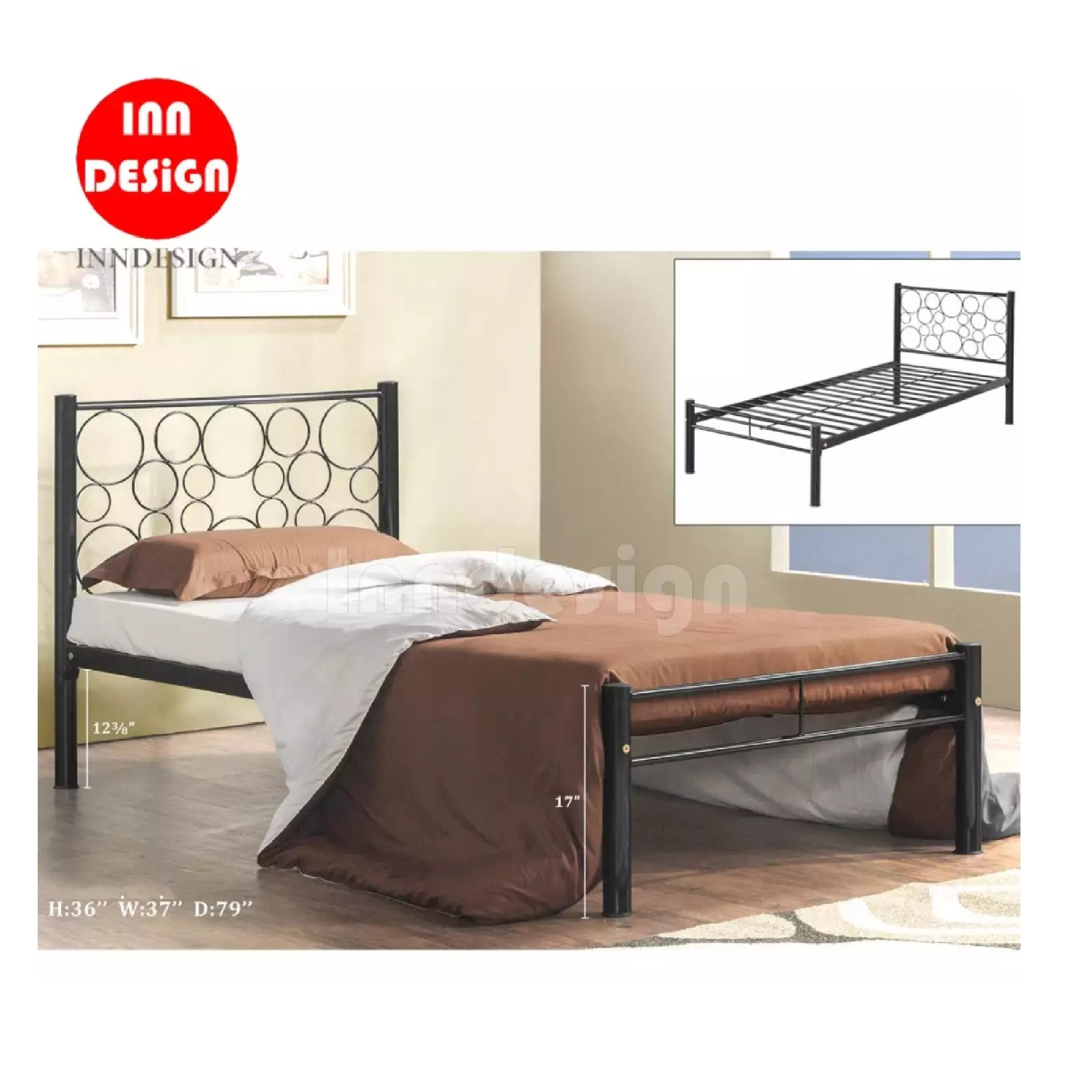 Single Metal Bed / Metal Bed Frame (Black)