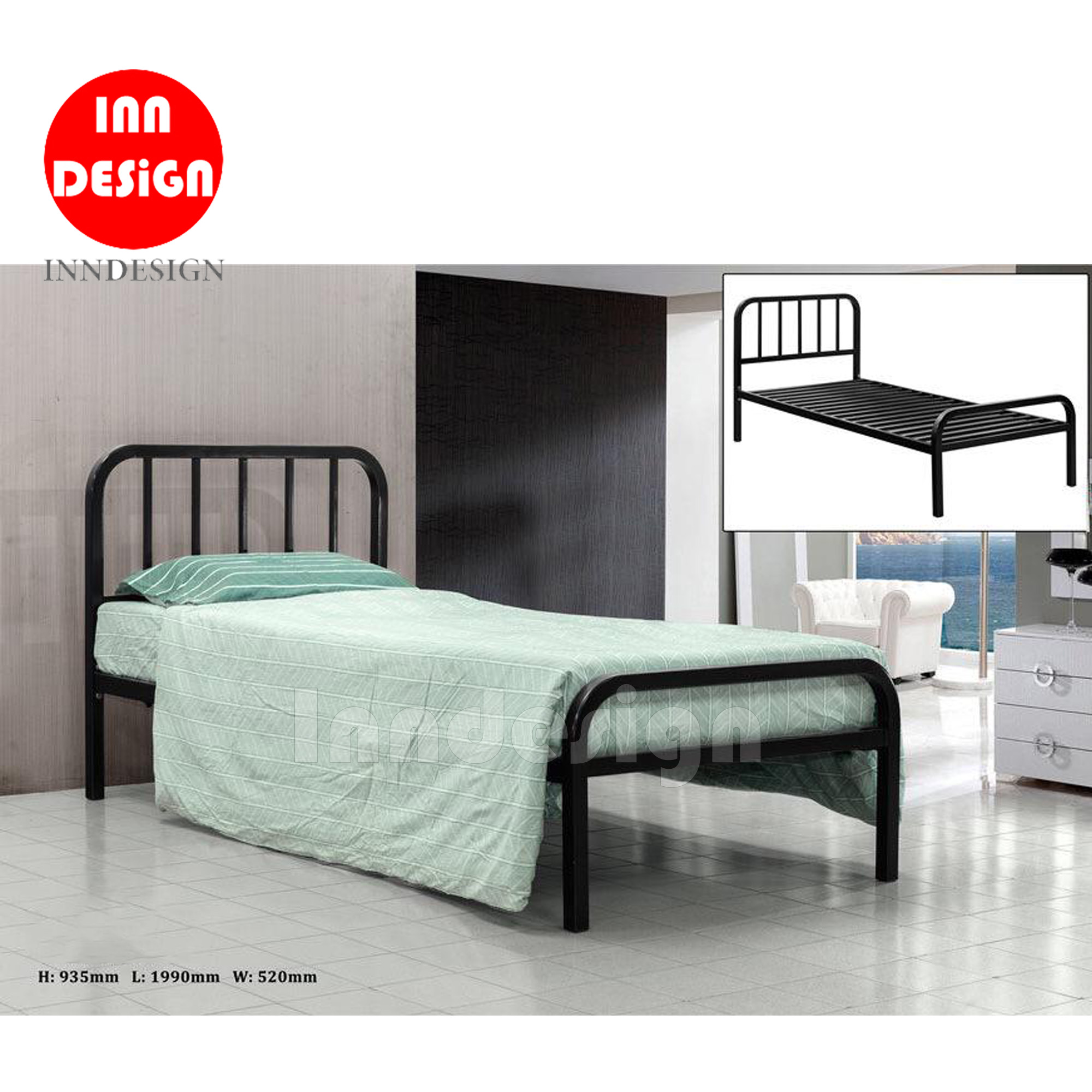 Jeane Single Metal Bedframe