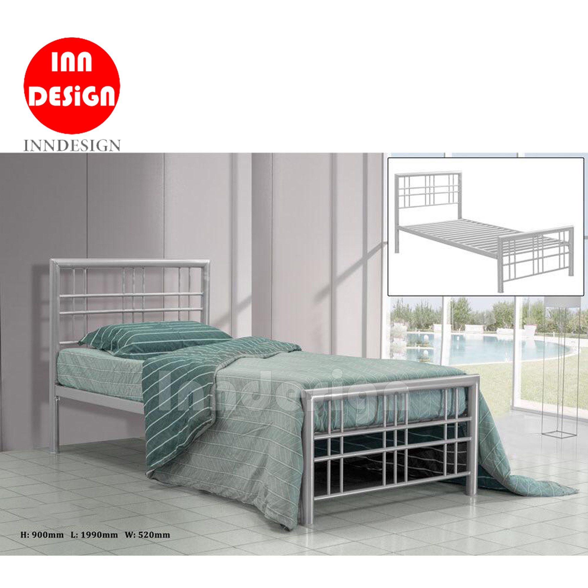Lwen Single Metal Bedframe