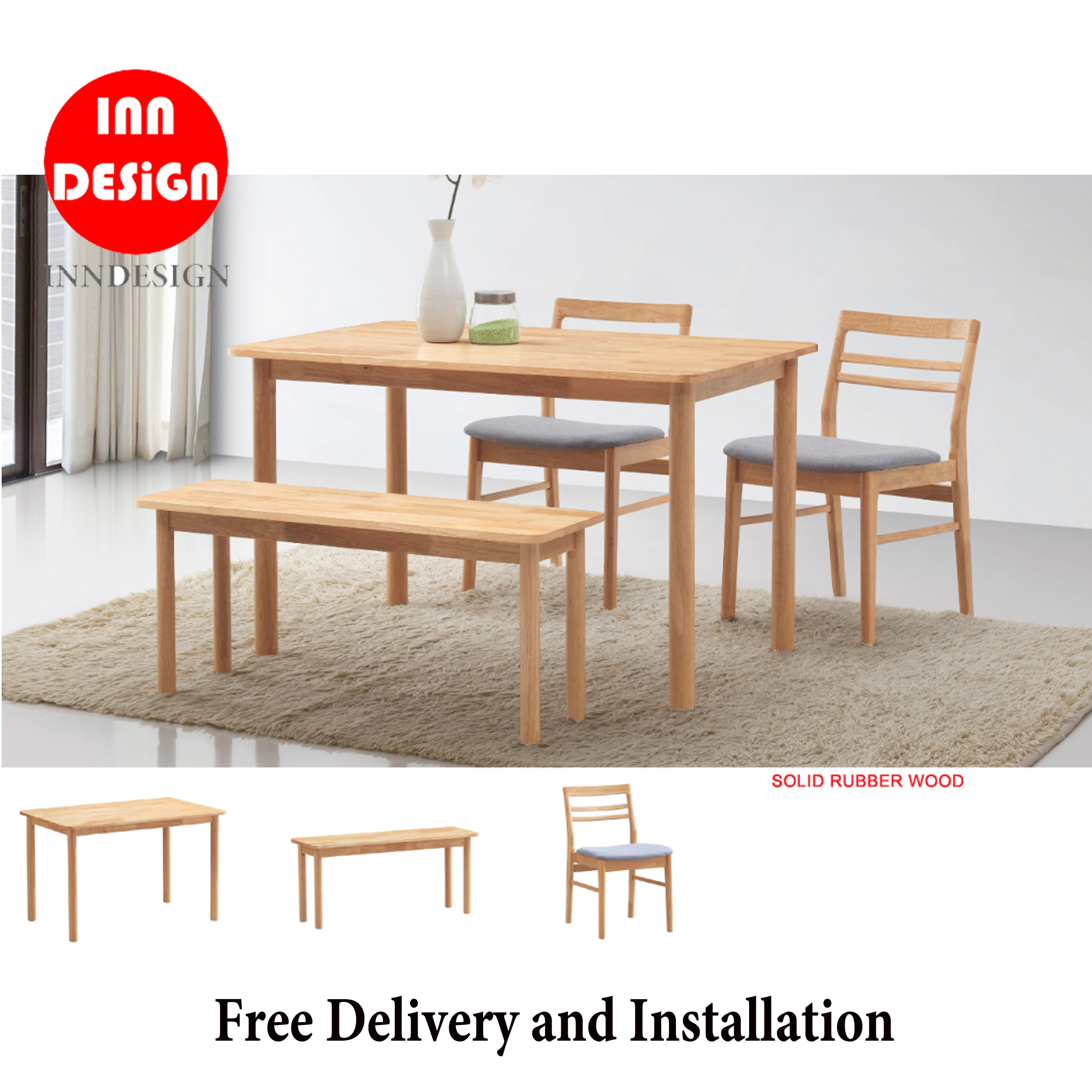 Aundrey 1+4 Dining Set With Bench