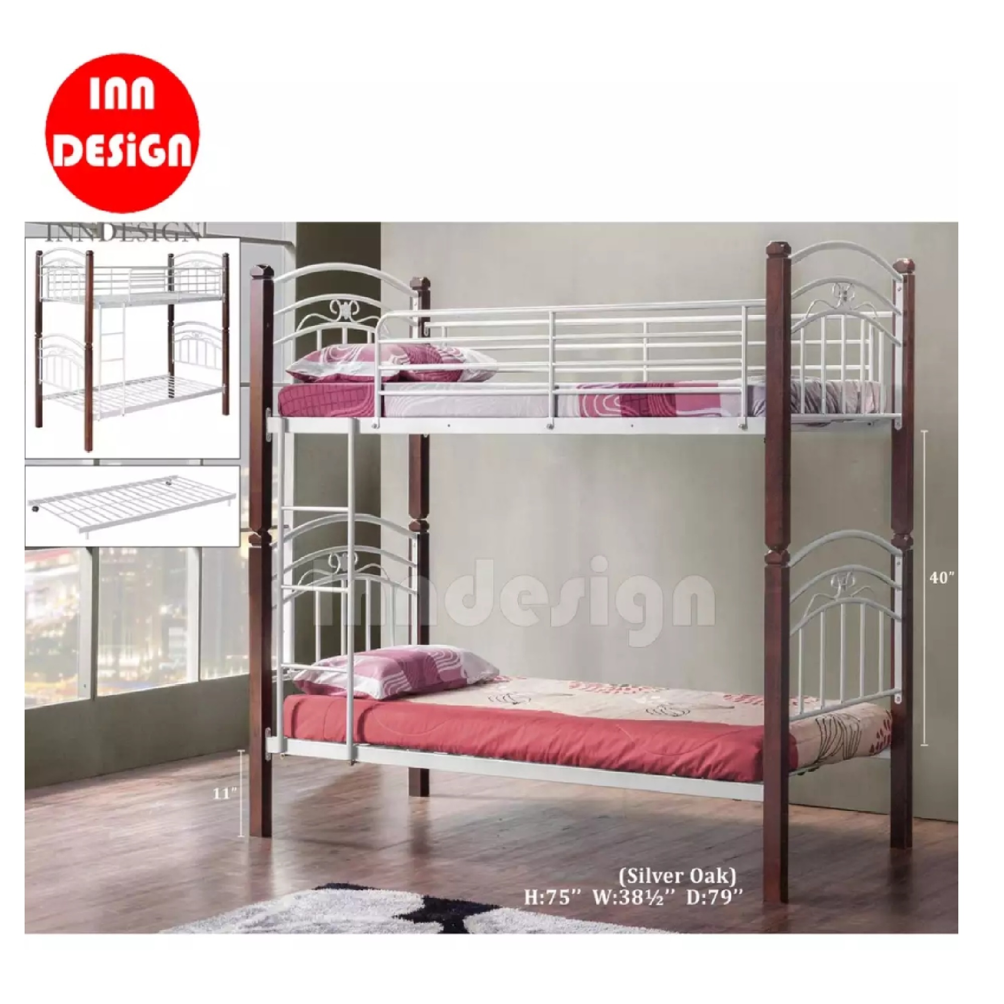 Double Deck Bed Single Size / Metal Bed Frame (Silver+Oak)