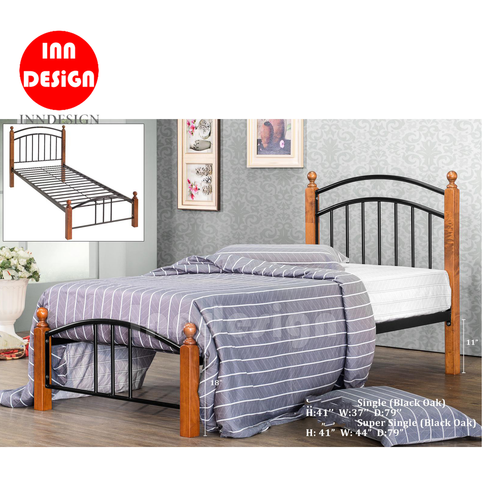 Jeane Wooded Single Bed