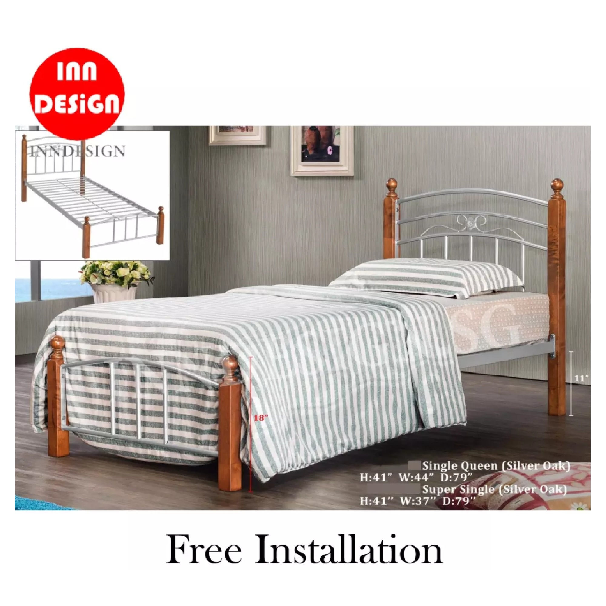 Wooded Stand Single Metal Bedframe (Free Delivery and Installation)