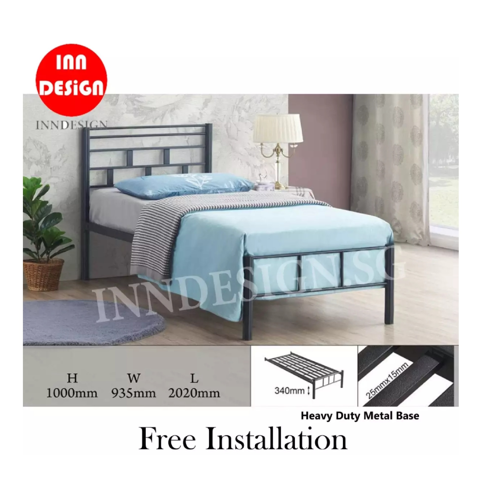 Emi Single Heavy Duty Metal Bedframe / Bed (Free Delivery and Installation)