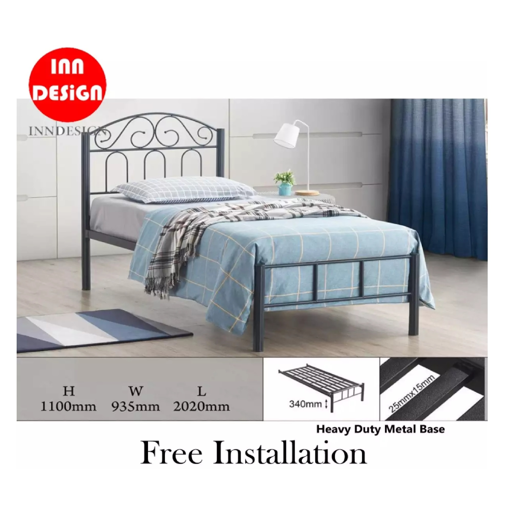 Emi II Single Heavy Duty Metal Bedframe / Bed (Free Delivery and Installation)