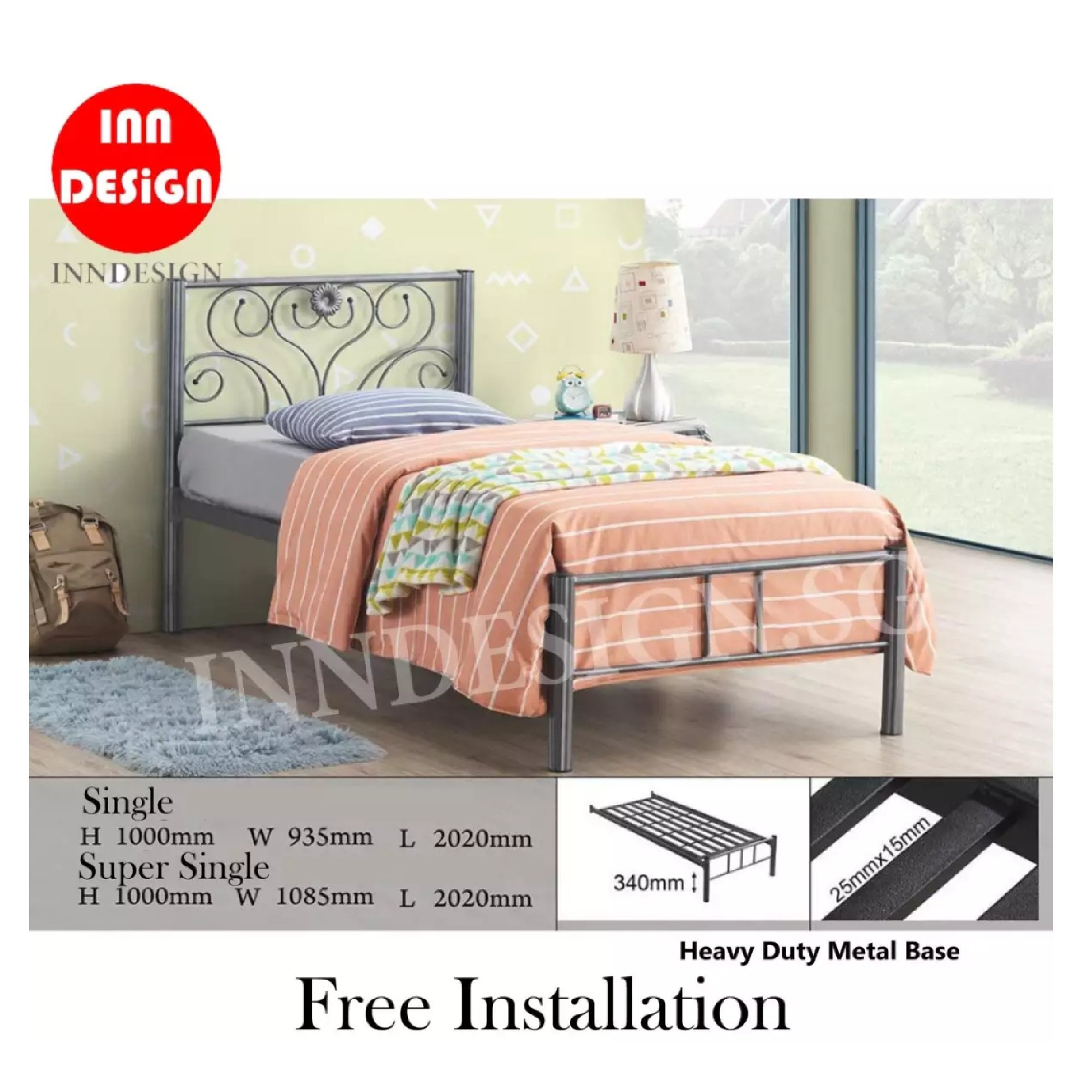 Emie Single Heavy Duty Metal Bedframe / Bed (Free Delivery and Installation)