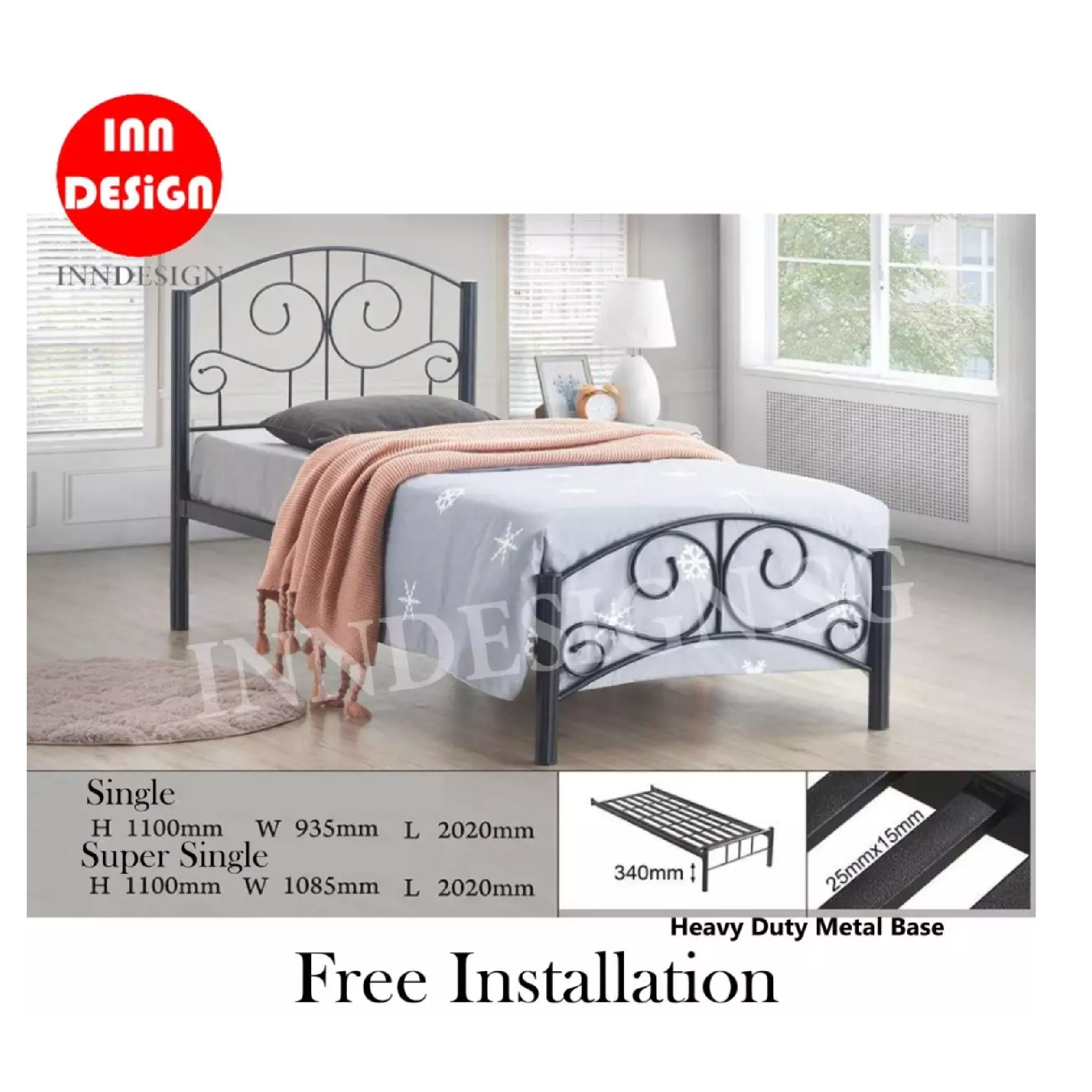 Emi III Single Heavy Duty Metal Bedframe / Bed (Free Delivery and Installation)