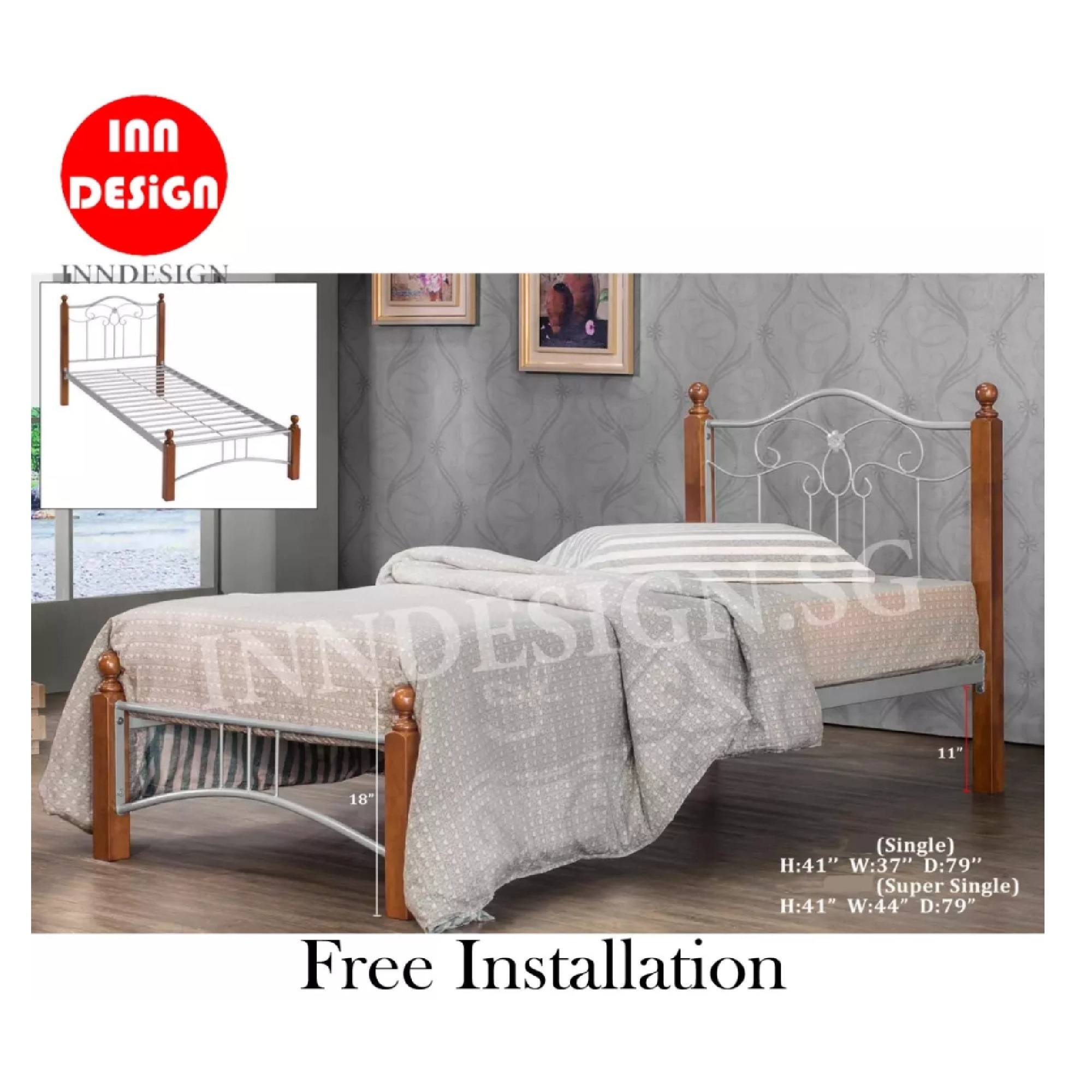 Super Single Metal Bedframe (Free Delivery and Installation)