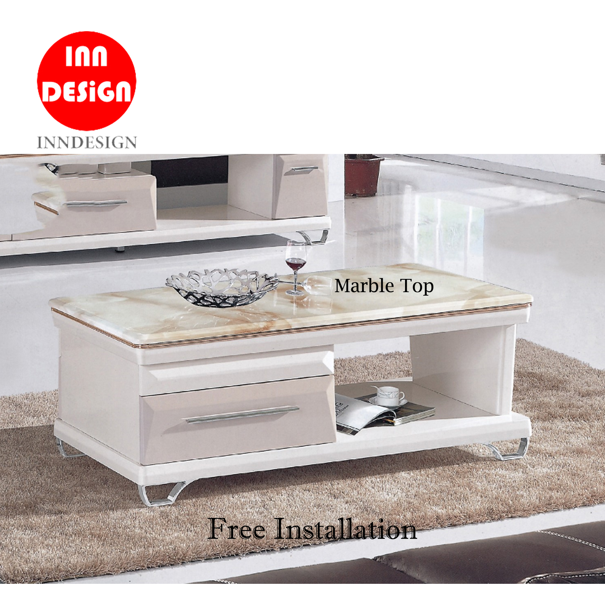 Jewel Marble Top Coffee Table