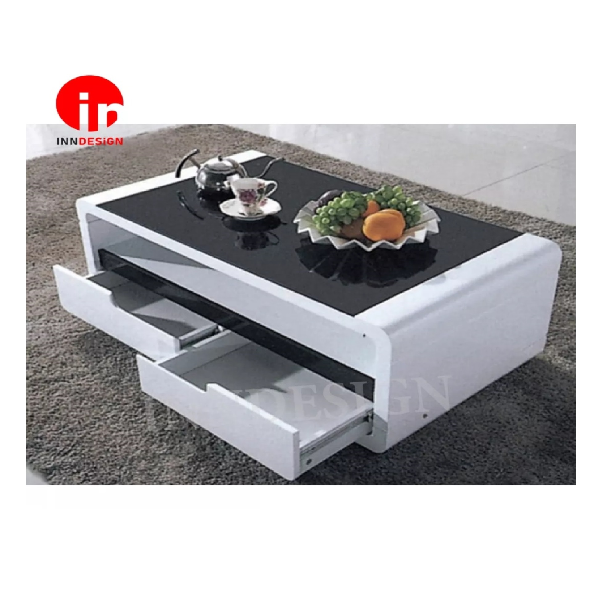 Judith Tempered Glass Table Coffee Table With Drawers(Free Delivery and Installation)