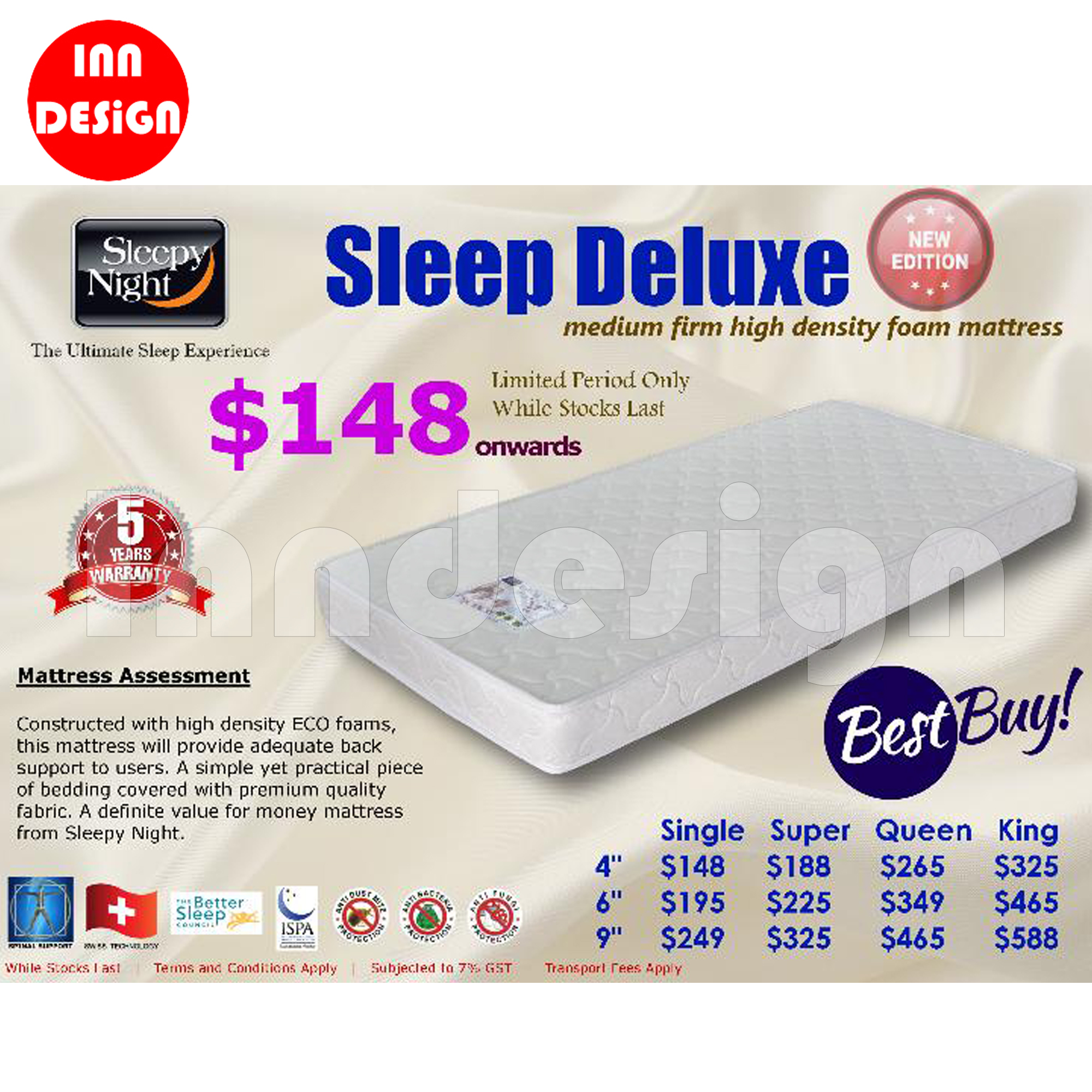 "Single 4"" SleepyNight High Density Foam Mattress"