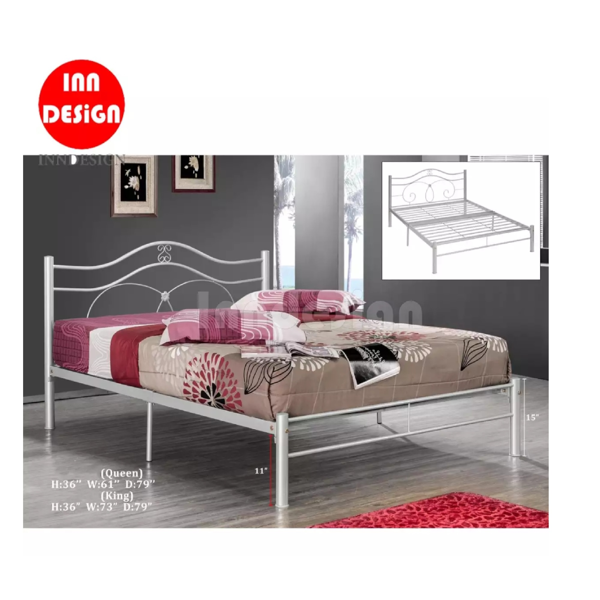 INNDESIGN Queen Metal Bed / Metal Bed Frame (Silver)