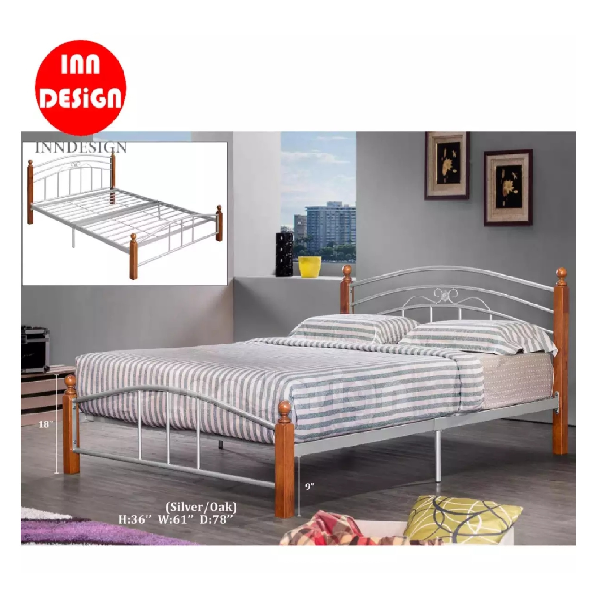 Queen Metal Bed / Metal Bed Frame (Silver + Oak)