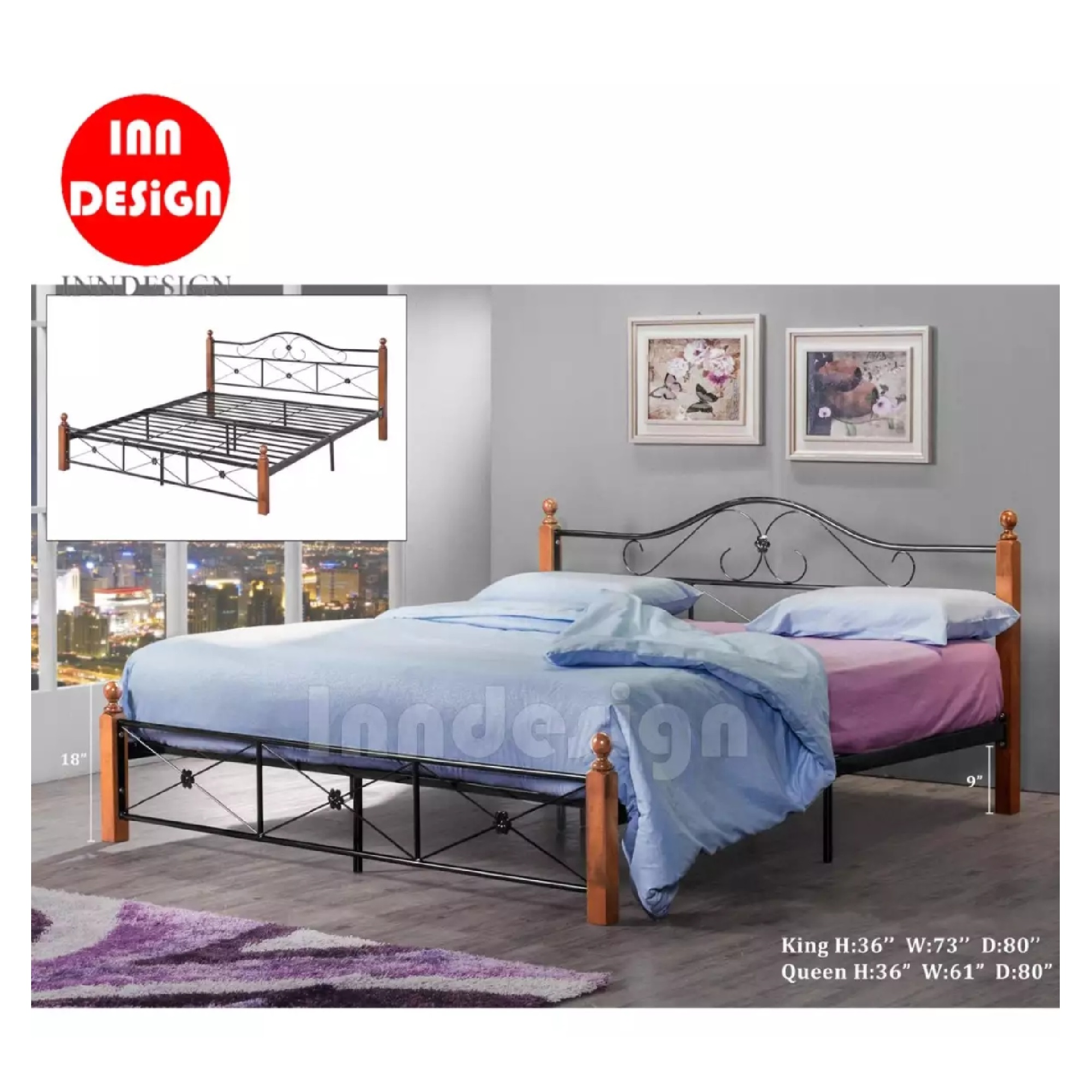 Queen Metal Bed / Metal Bed Frame (Black + Oak)
