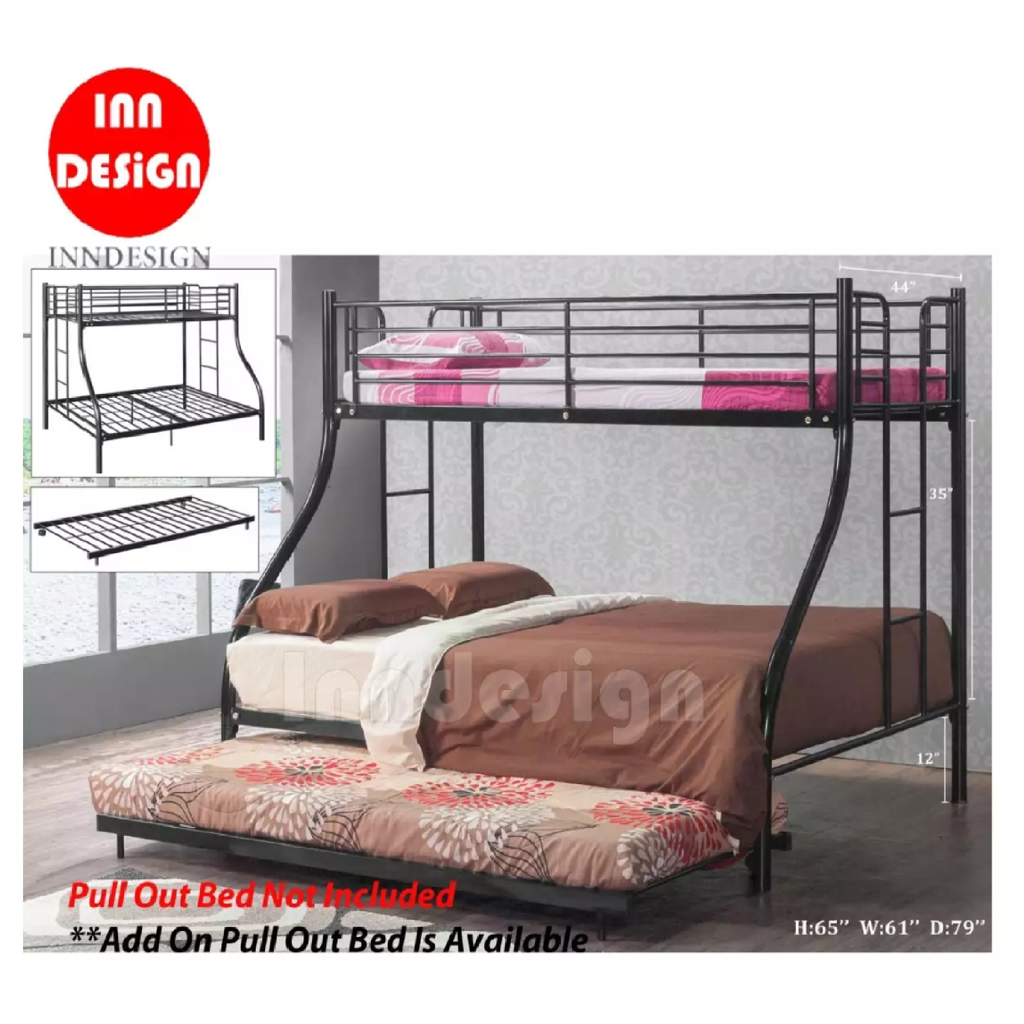 INNDESIGN Bunk Bed / Double Desker /Metal Bed Frame Queen & Single Size (Black)