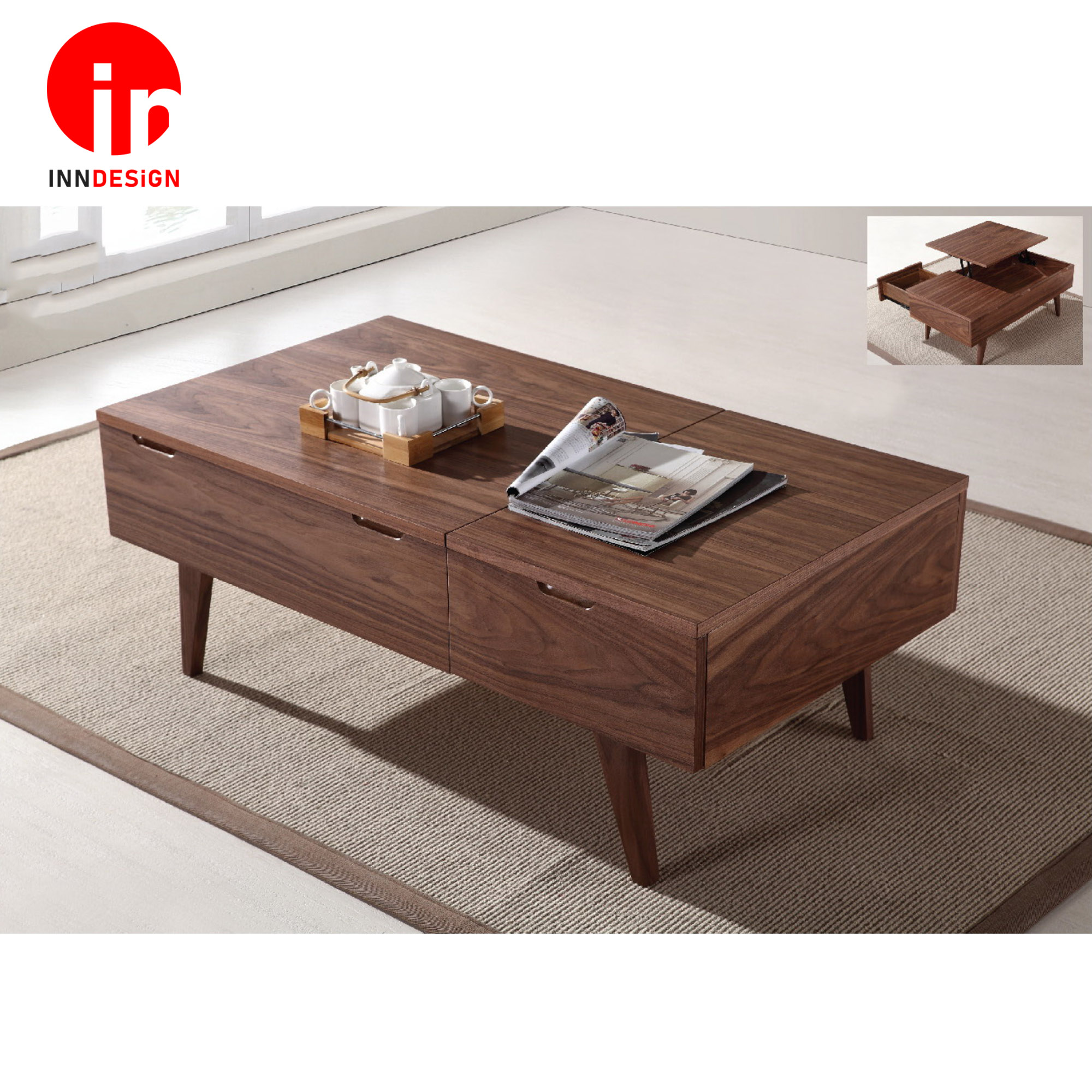 Lovene Lift-Up Solid Wood Coffee Table