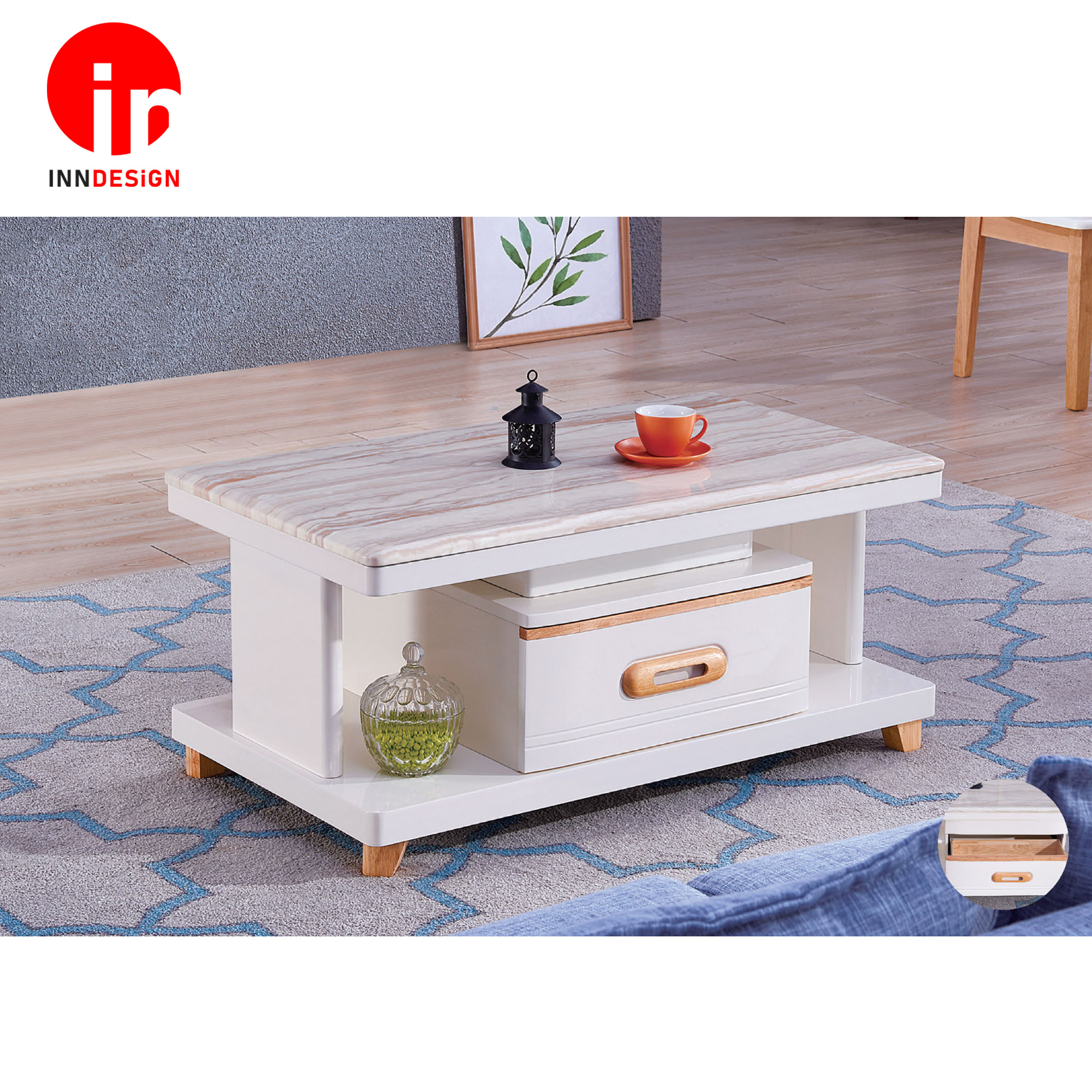 Feraye Marble Top Coffee Table