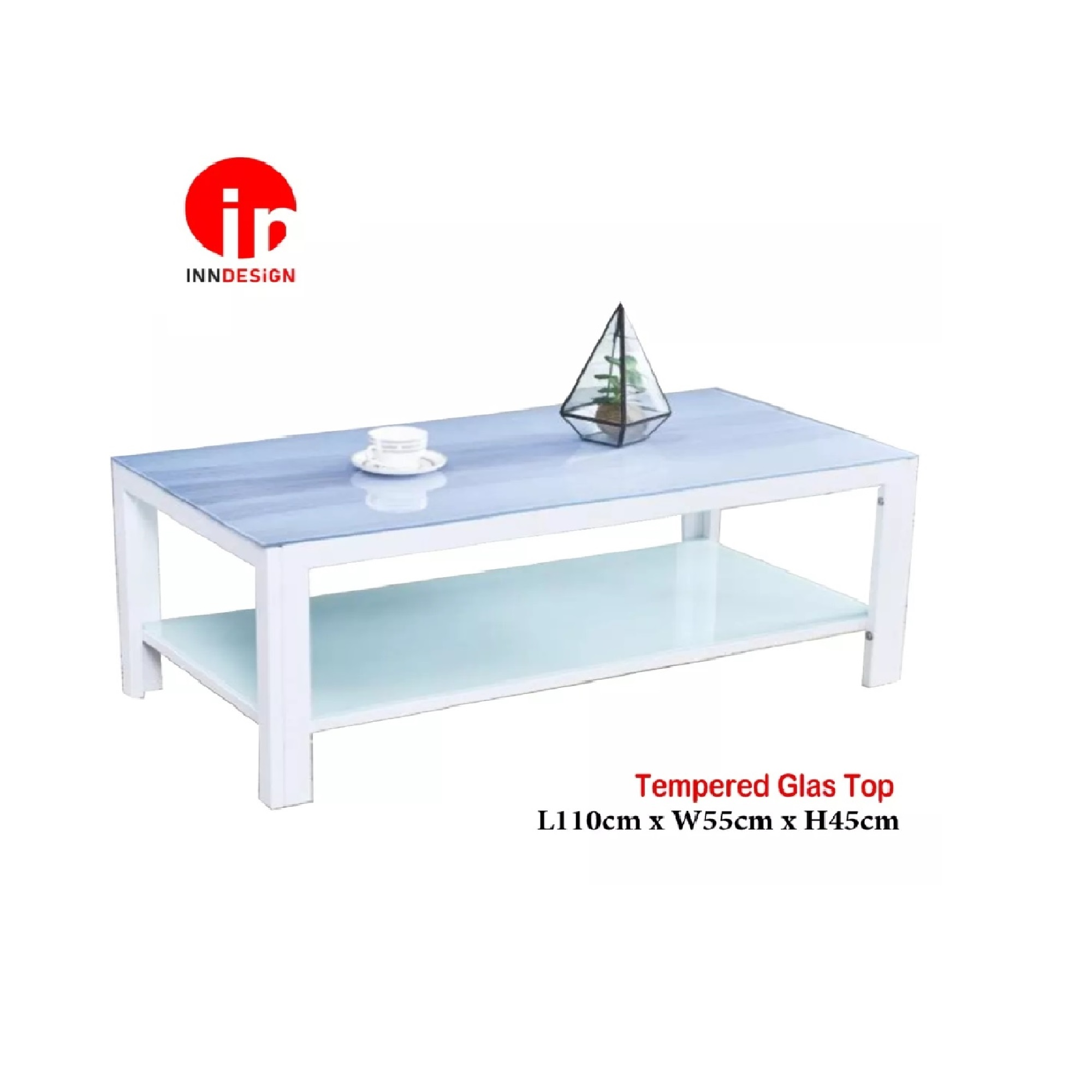 Viva Tempered Glass Top Coffee Table (White)
