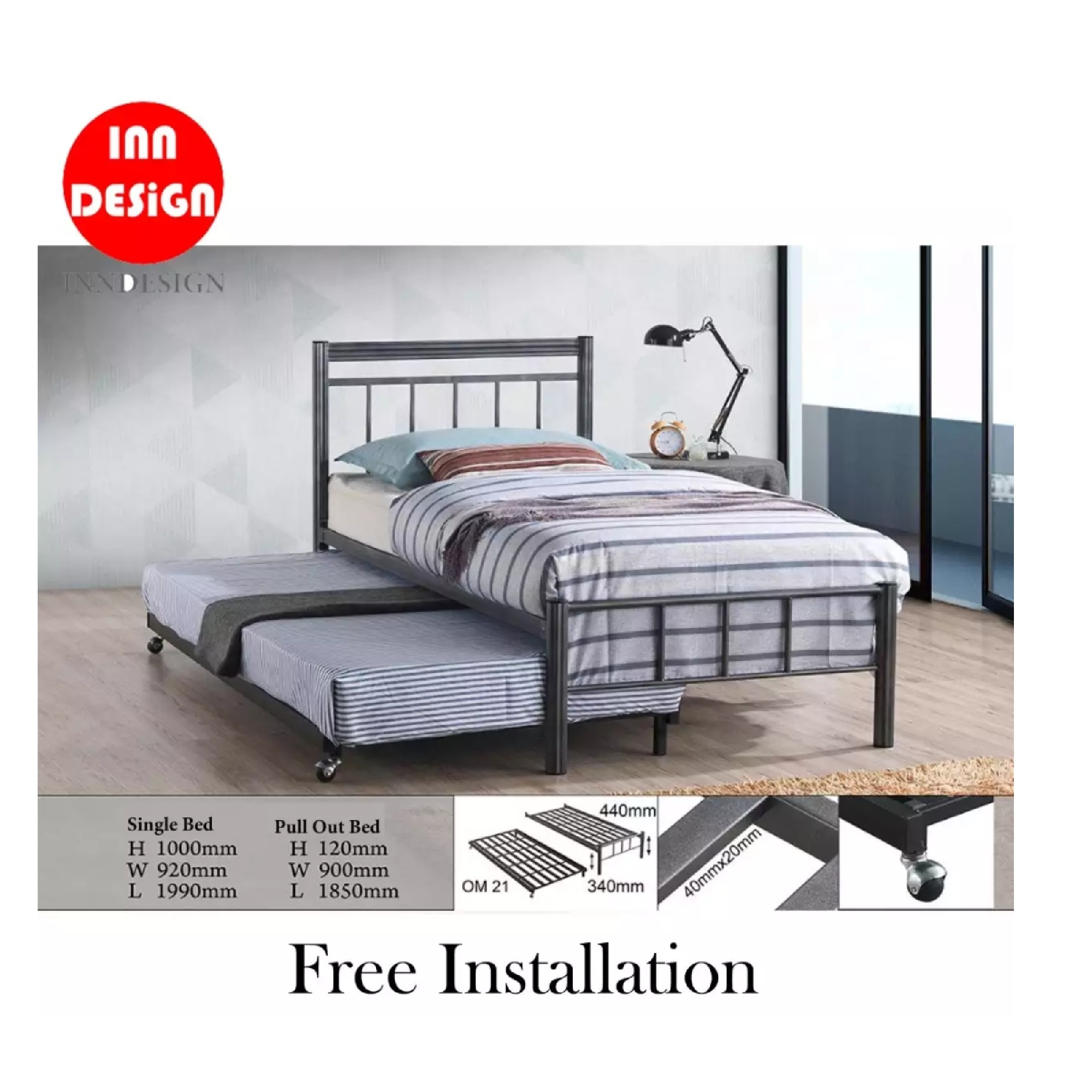 Emmie Solid Single Metal Bedframe With Add-On PullOut Bed (Free Delivery and Installation)