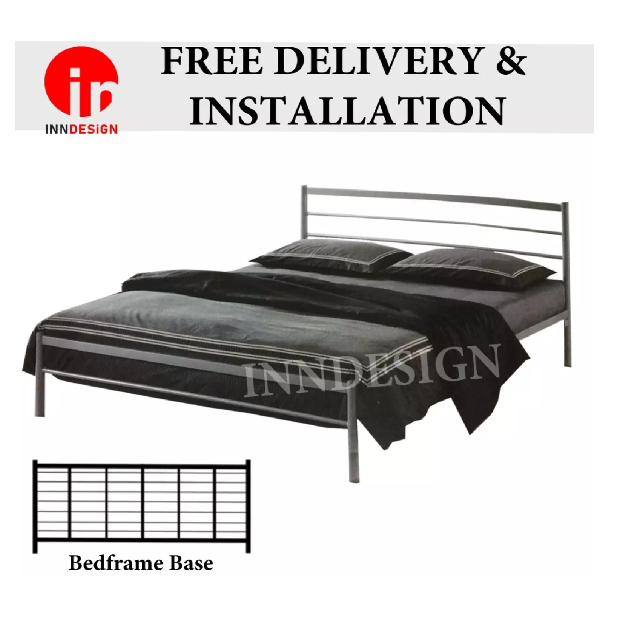 QUEEN METAL BEDFRAME (SILVER)