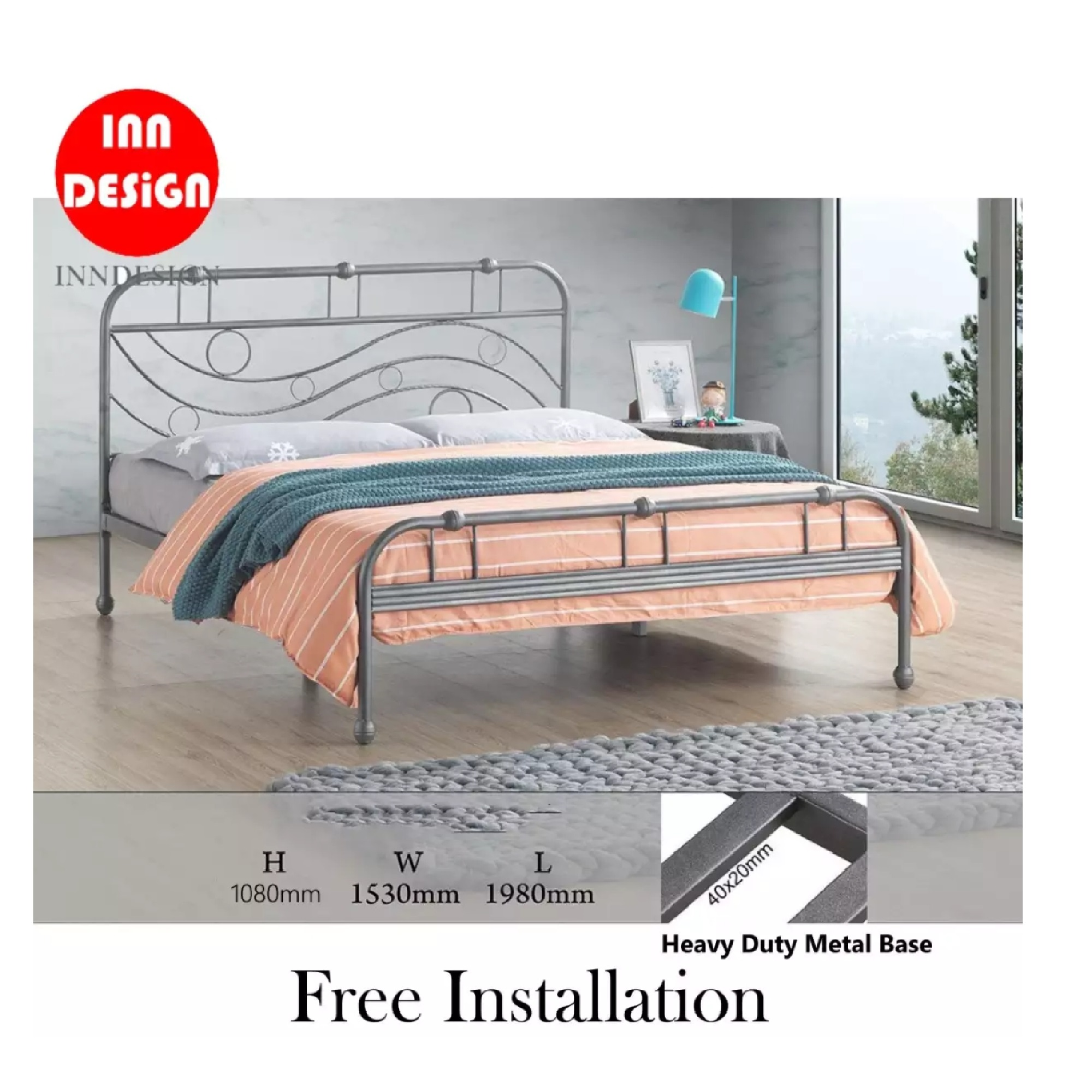 Zano Queen Heavy Duty Metal Bedframe / Bed / Bed frame (Free Delivery and Installation)