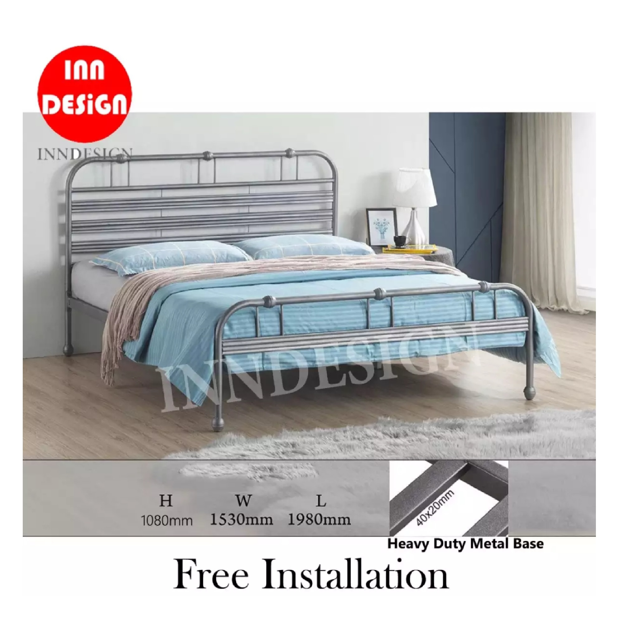 Qano Queen Heavy Duty Metal Bedframe / Bed / Bed frame (Free Delivery and Installation)