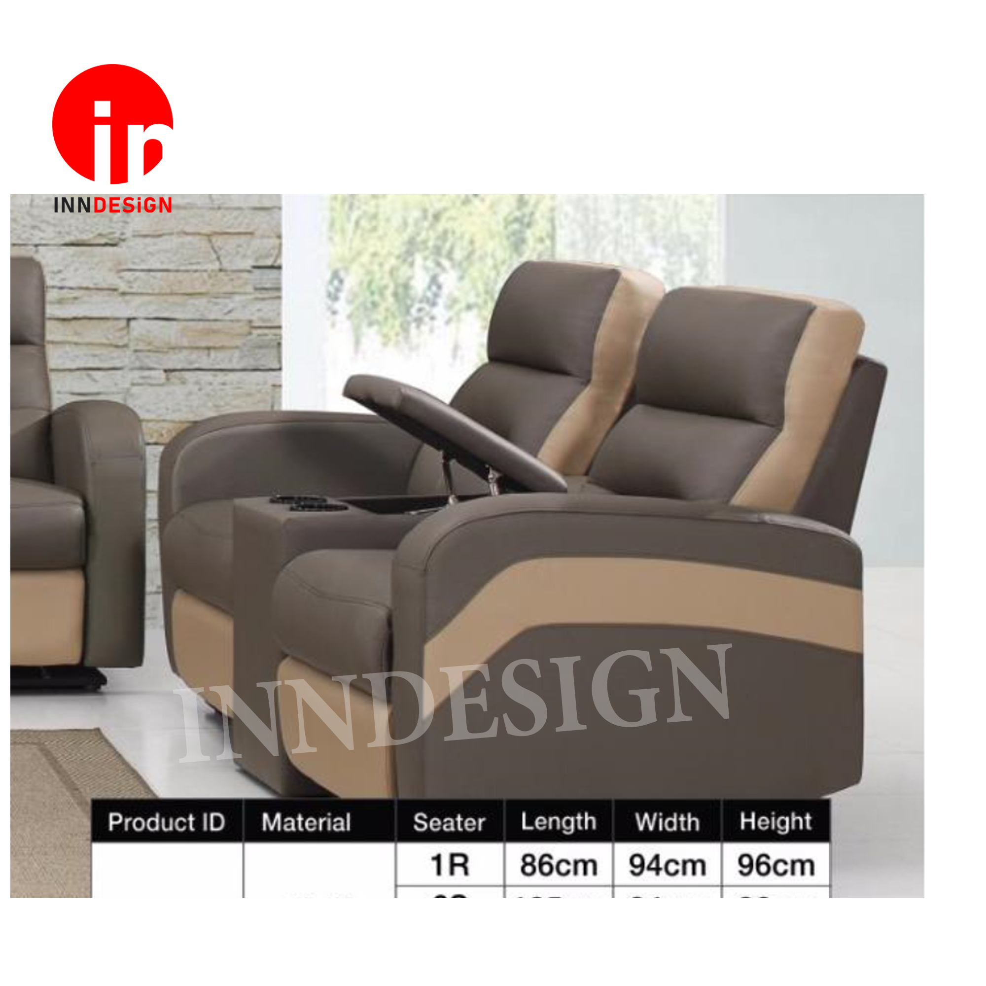 MIKO 2RR Seaters Half Leather Sofa With Recliner