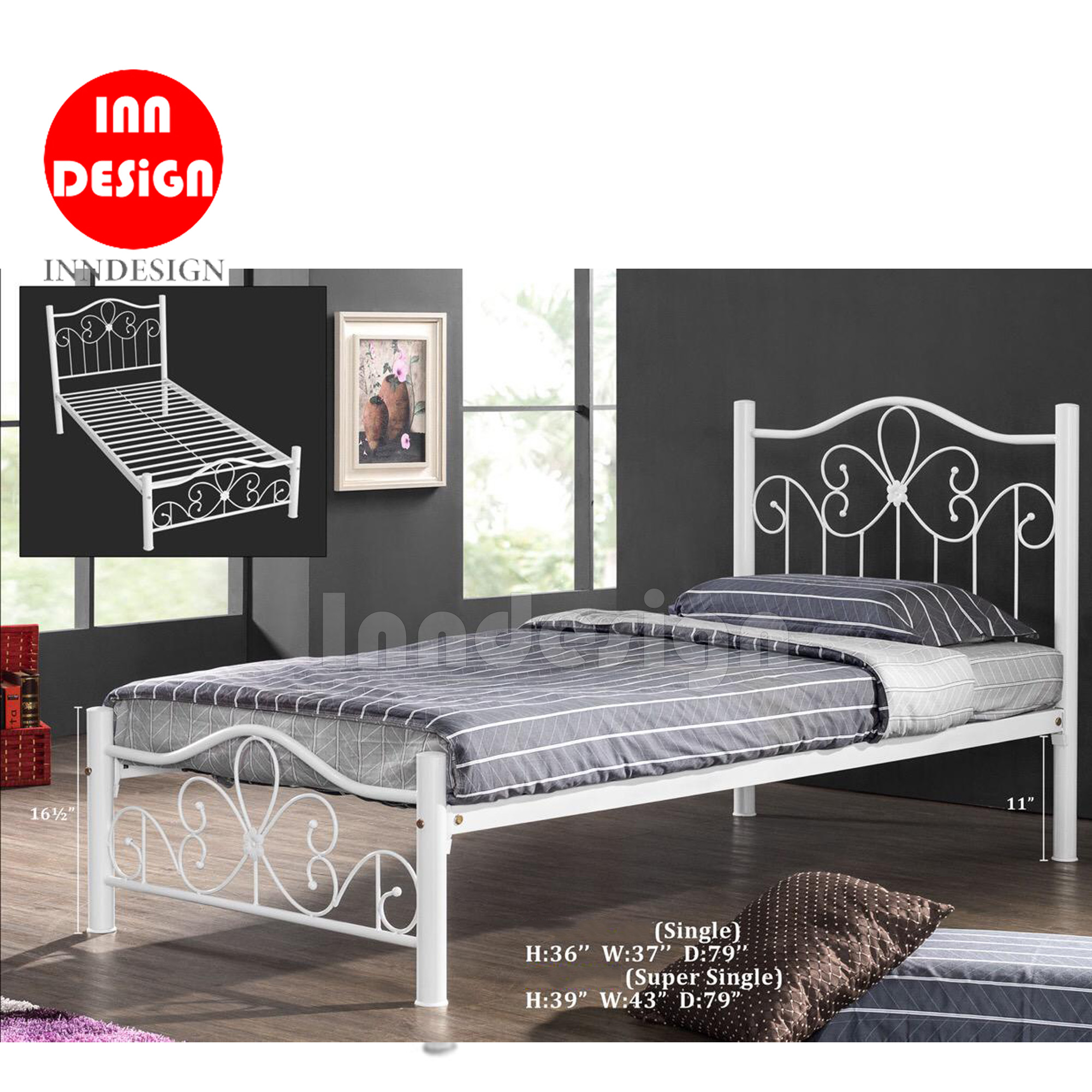 Milan Super Single Metal Bedframe