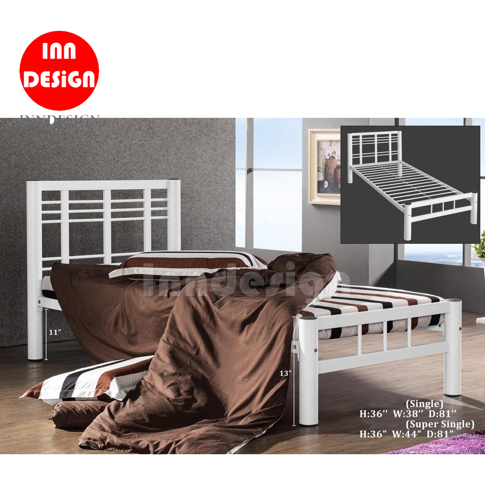 Asley Super Single Metal Bedframe