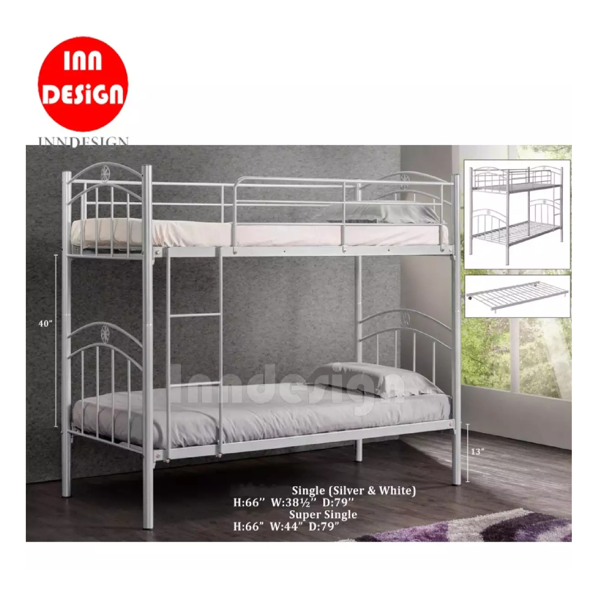 Double Deck Bed Single Metal Bed / Metal Bed Frame (Silver)