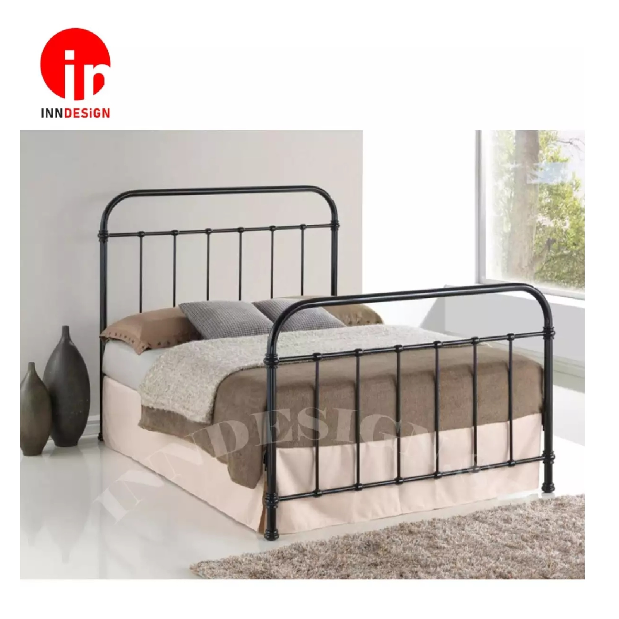 Edi Queen Metal Bed / Metal Bed Frame (Black)