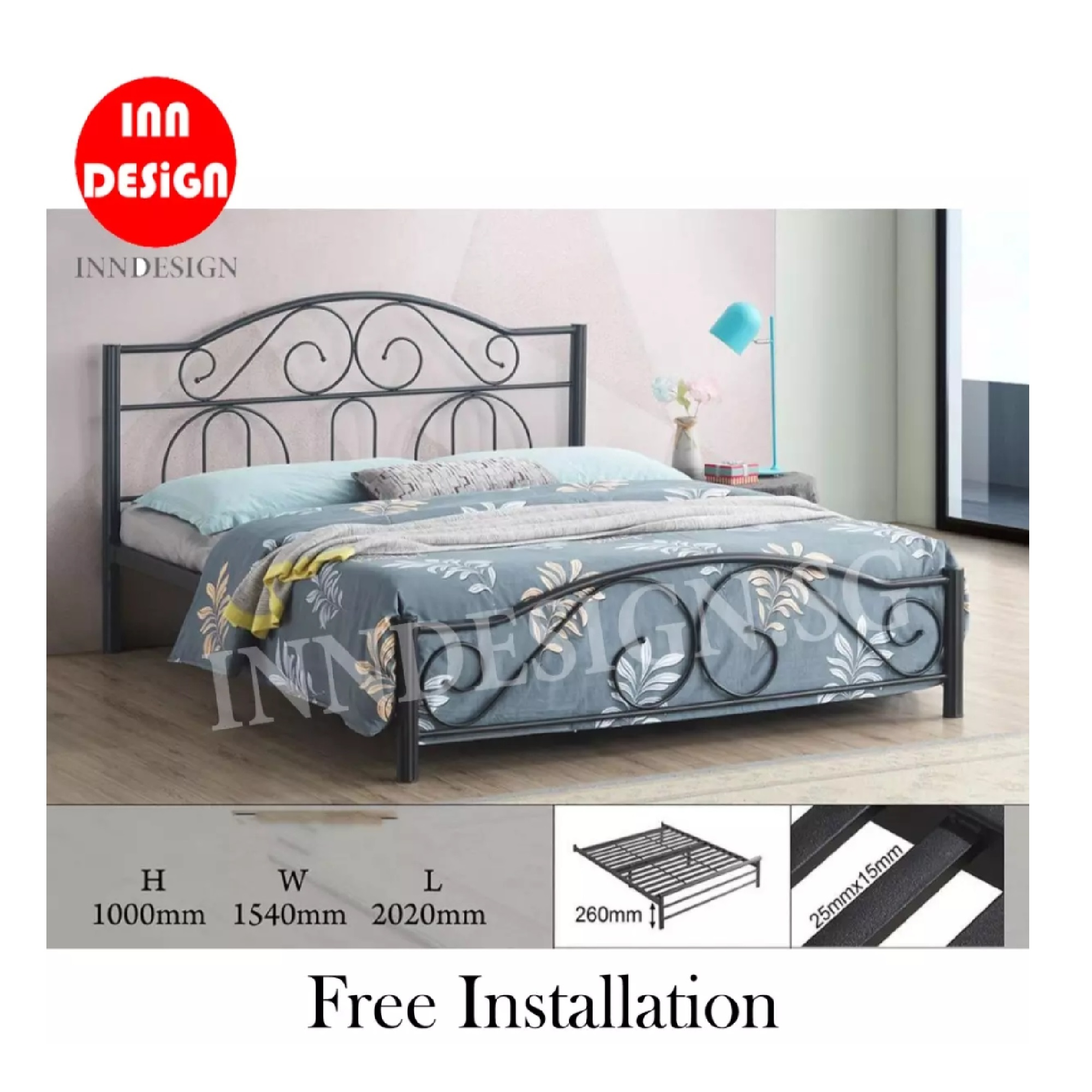Solid Queen Metal Bed / Metal Bed Frame (Free Delivery and Installation)