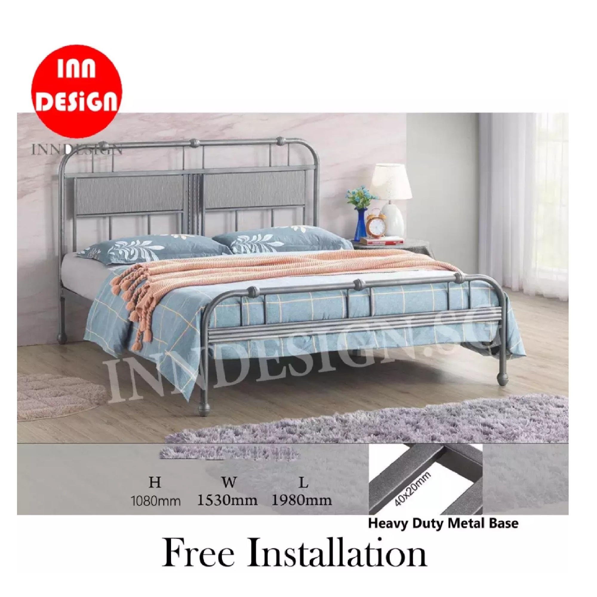 Amy Queen Size Heavy Duty Metal Bed frame / Bed / Bedframe