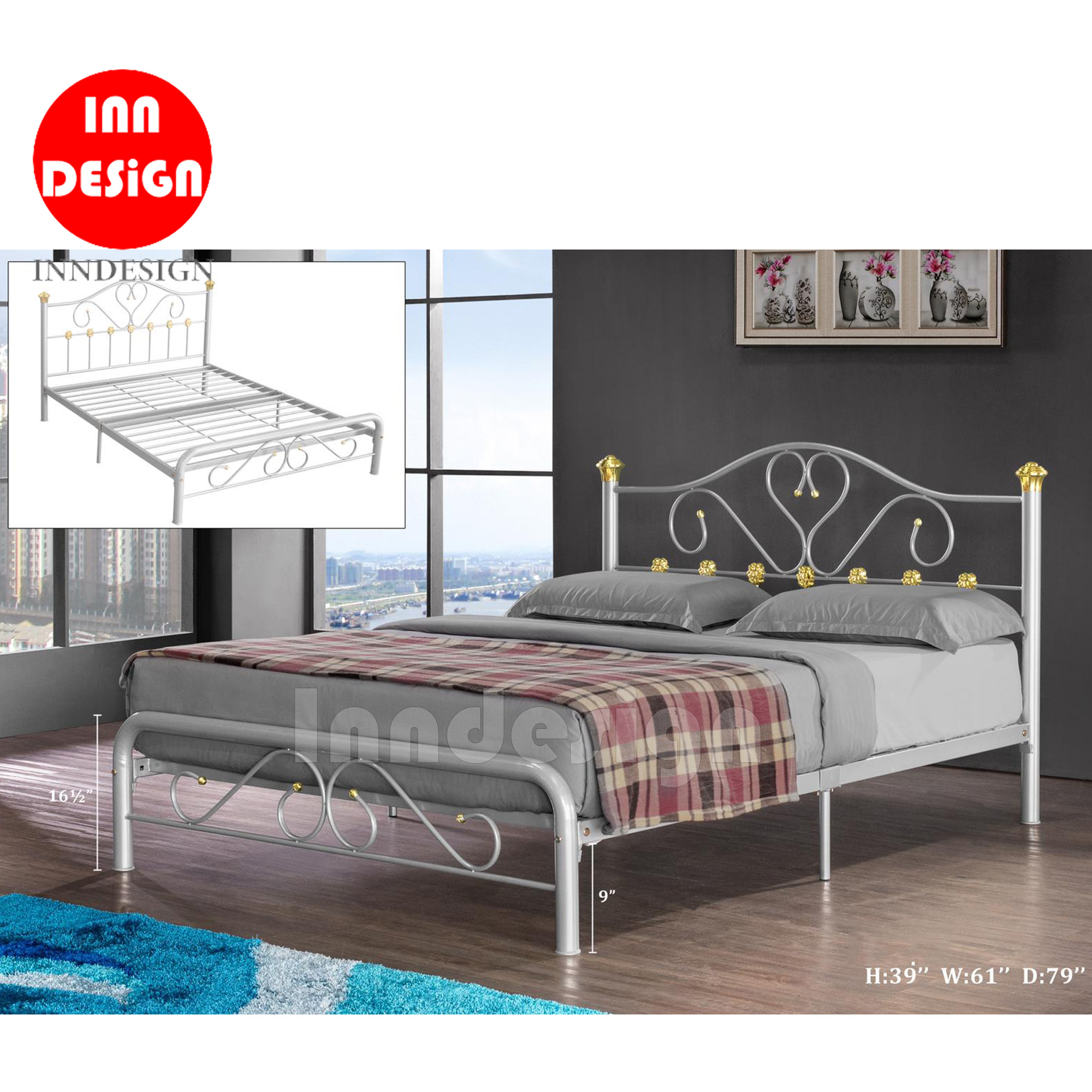 Cecilie Queen Metal Bedframe