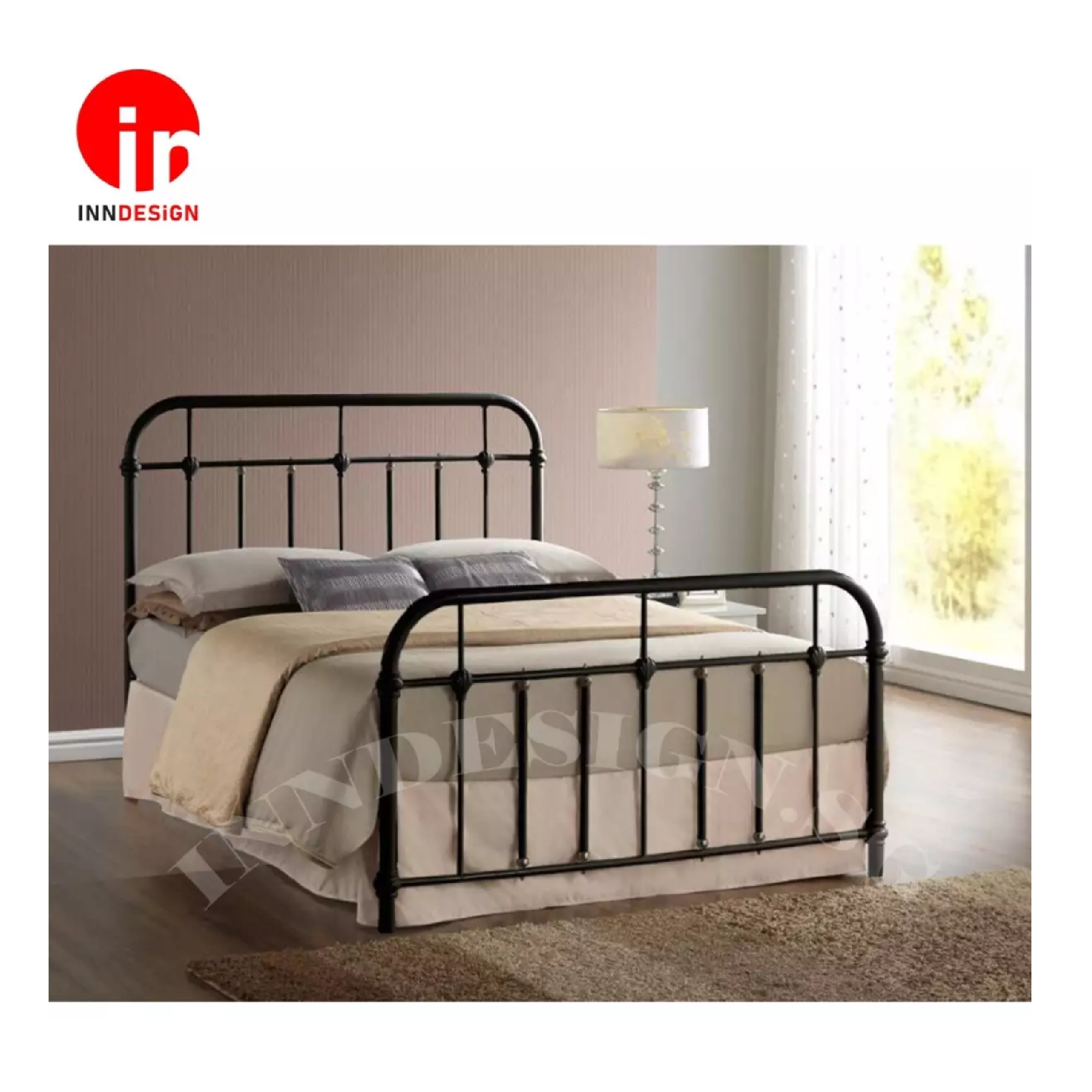 Ebie Queen Solid Metal Bed / Metal Bed Frame (Queen) (Black)