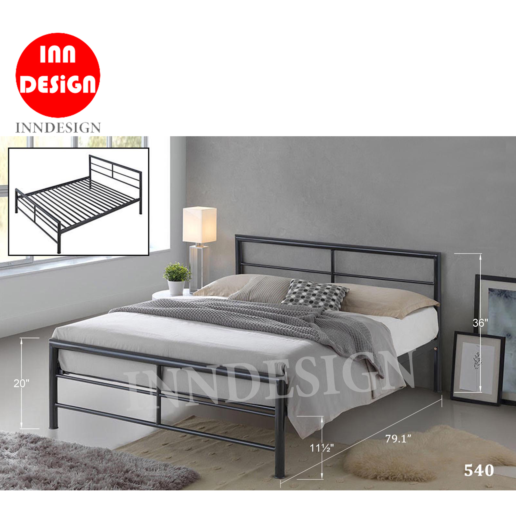 Emeraln Queen Metal Bedframe