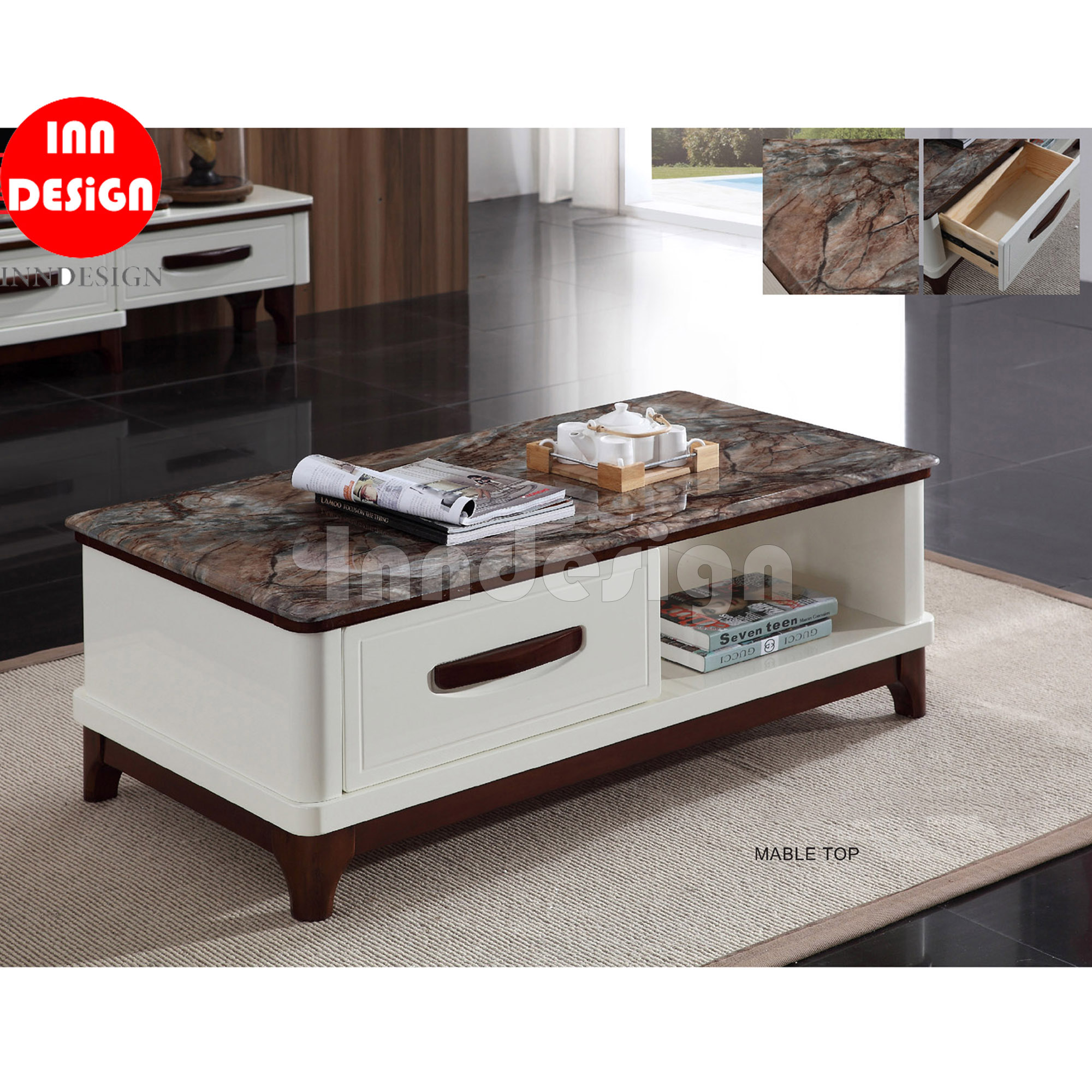 Ola Marble Top Coffee Table