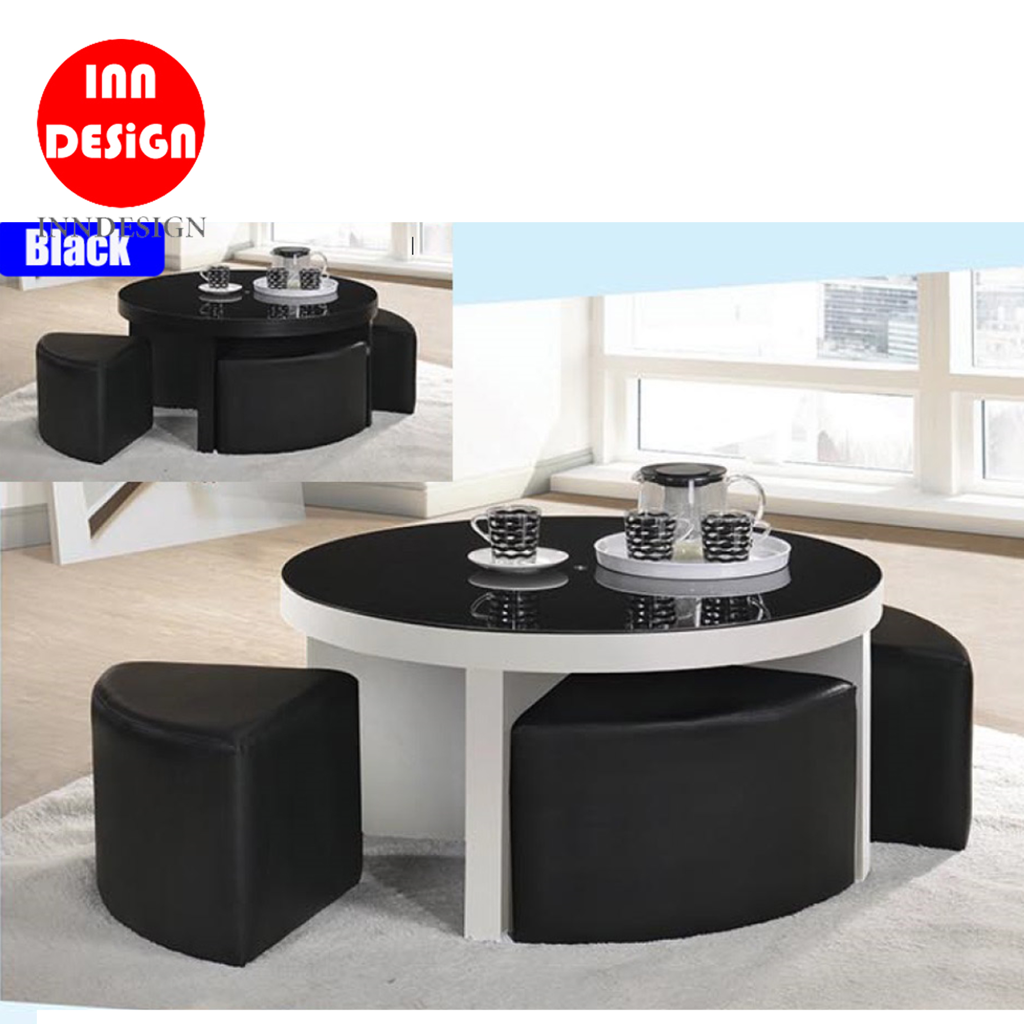 Ethel Coffee Table With Stool (Free Delivery and Installation)