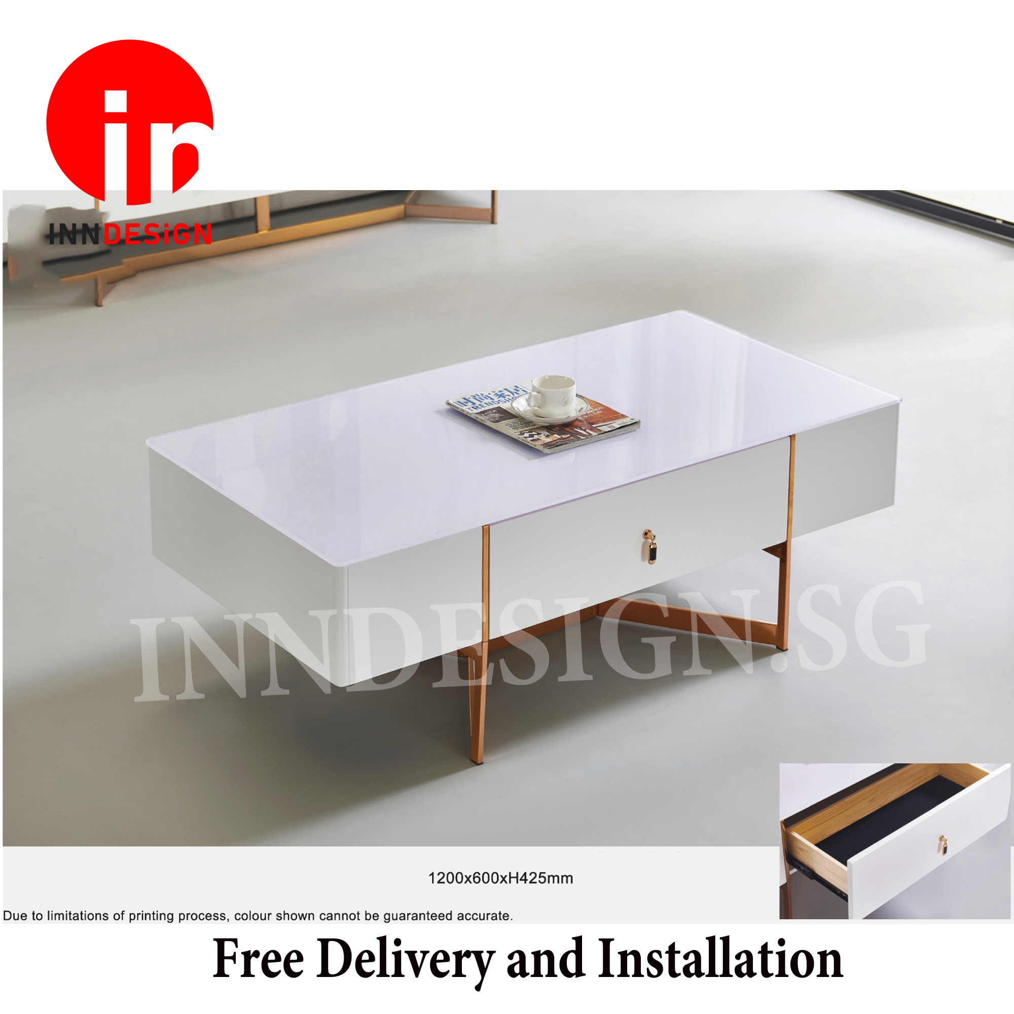 Kary Classic Glossy White Coffee Table With Drawer