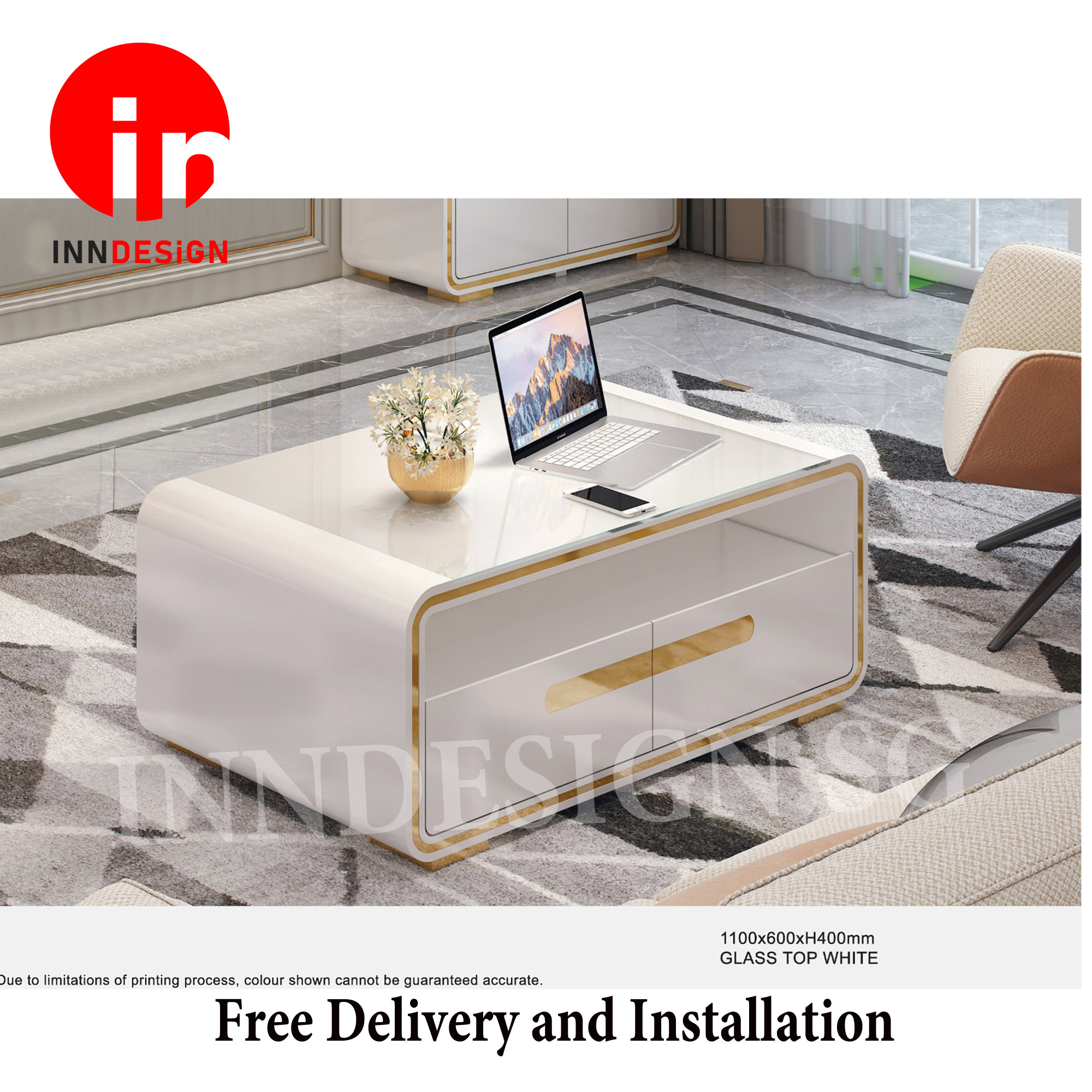 Aldeline Glossy Glass Top White Coffee Table