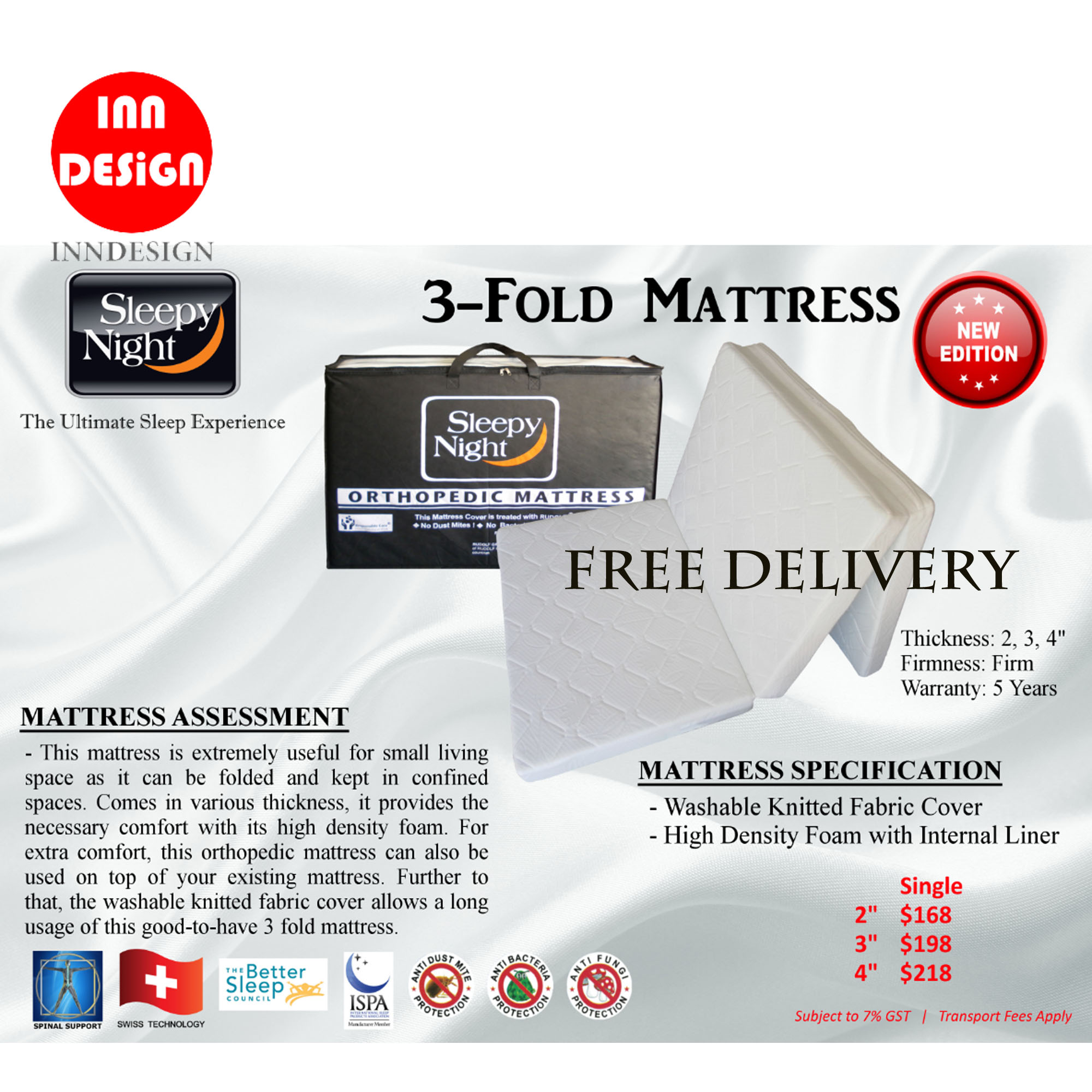 "Single 4"" 3-Fold SleepyNight Mattress"