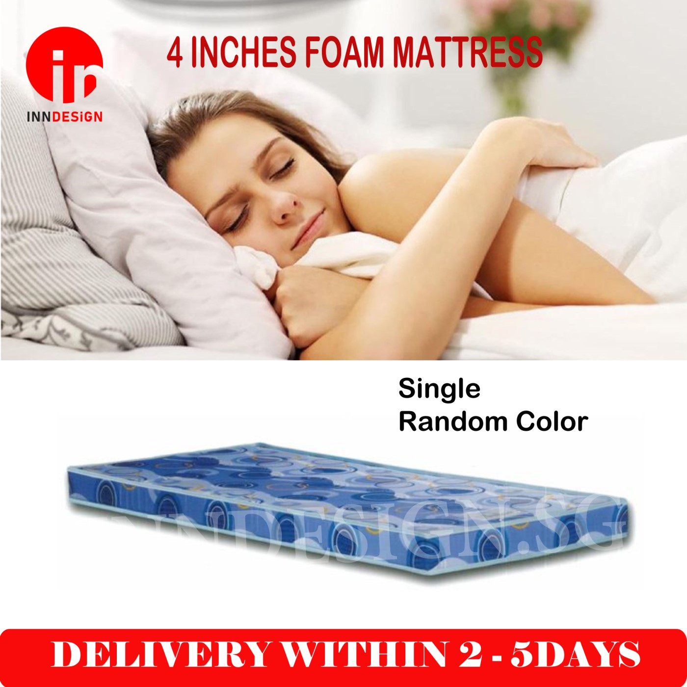 "Single 4"" Foam Mattress- Random Color"