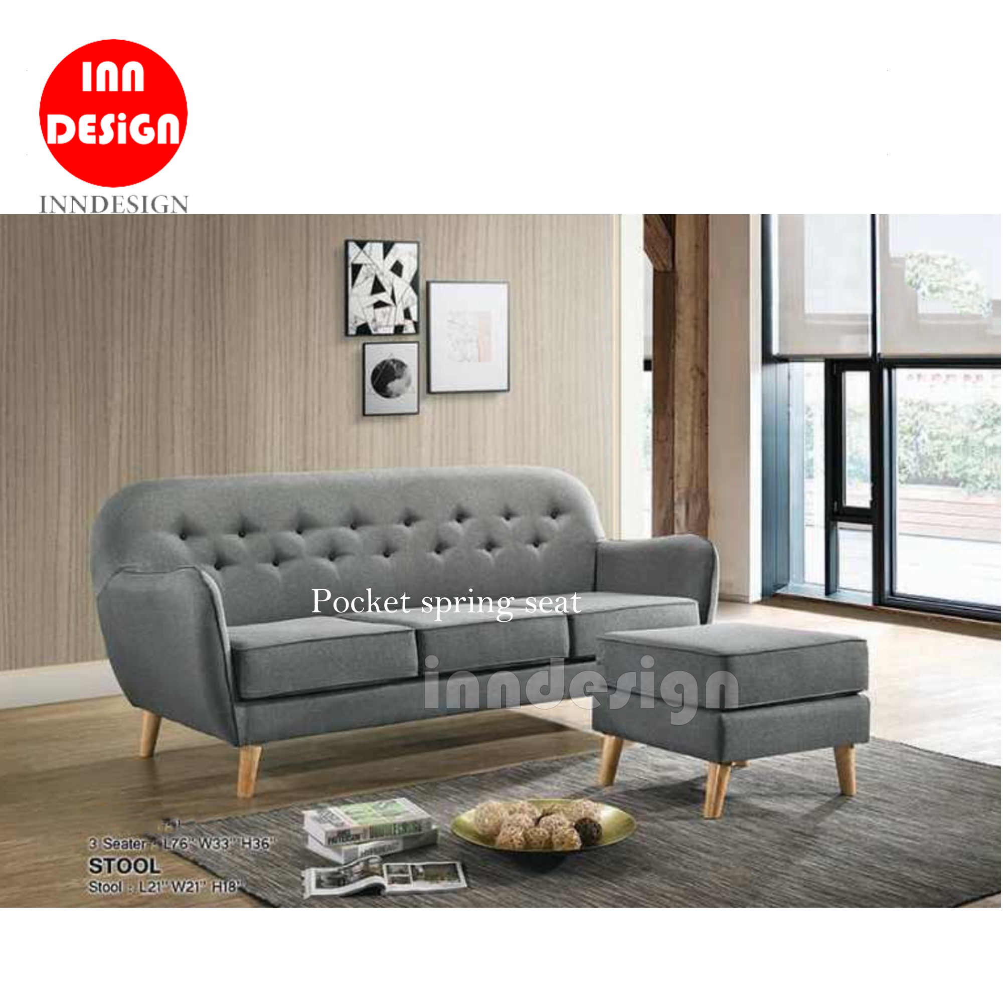 Jerran Pocket Spring 3 Seater Sofa with Stool