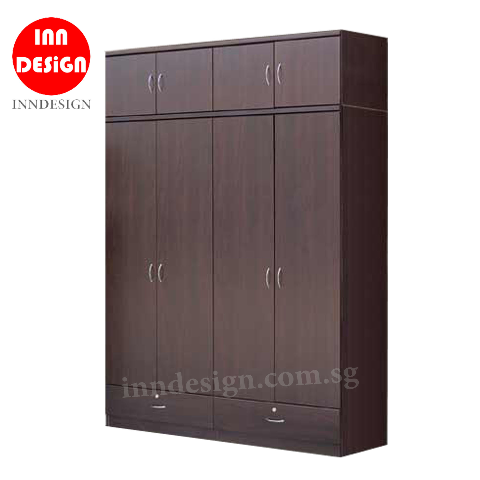 5ft 8 Doors Wardrobe With Drawers (Cherry)