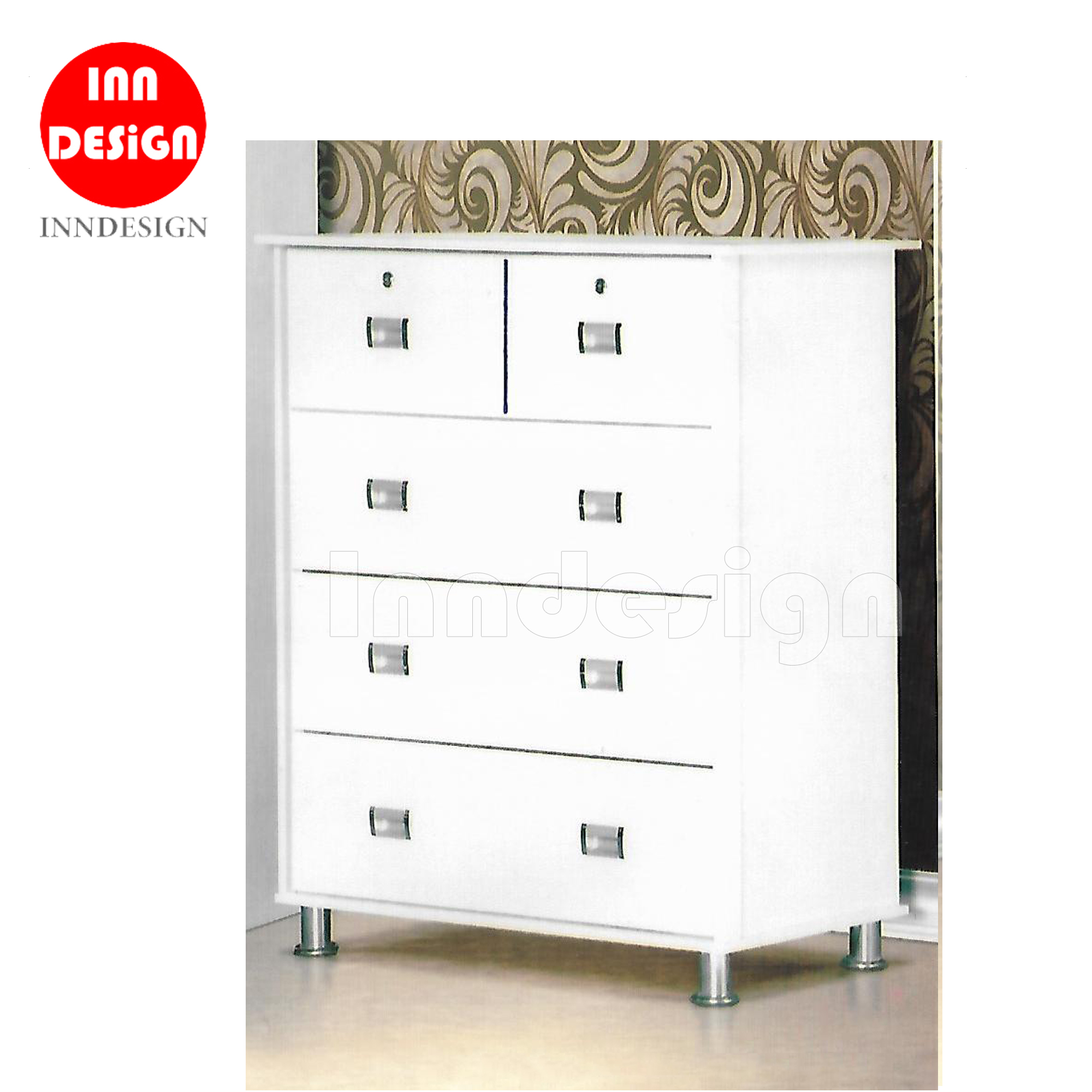Jarran Chest of 4 Drawers with Chrome Leg (White)