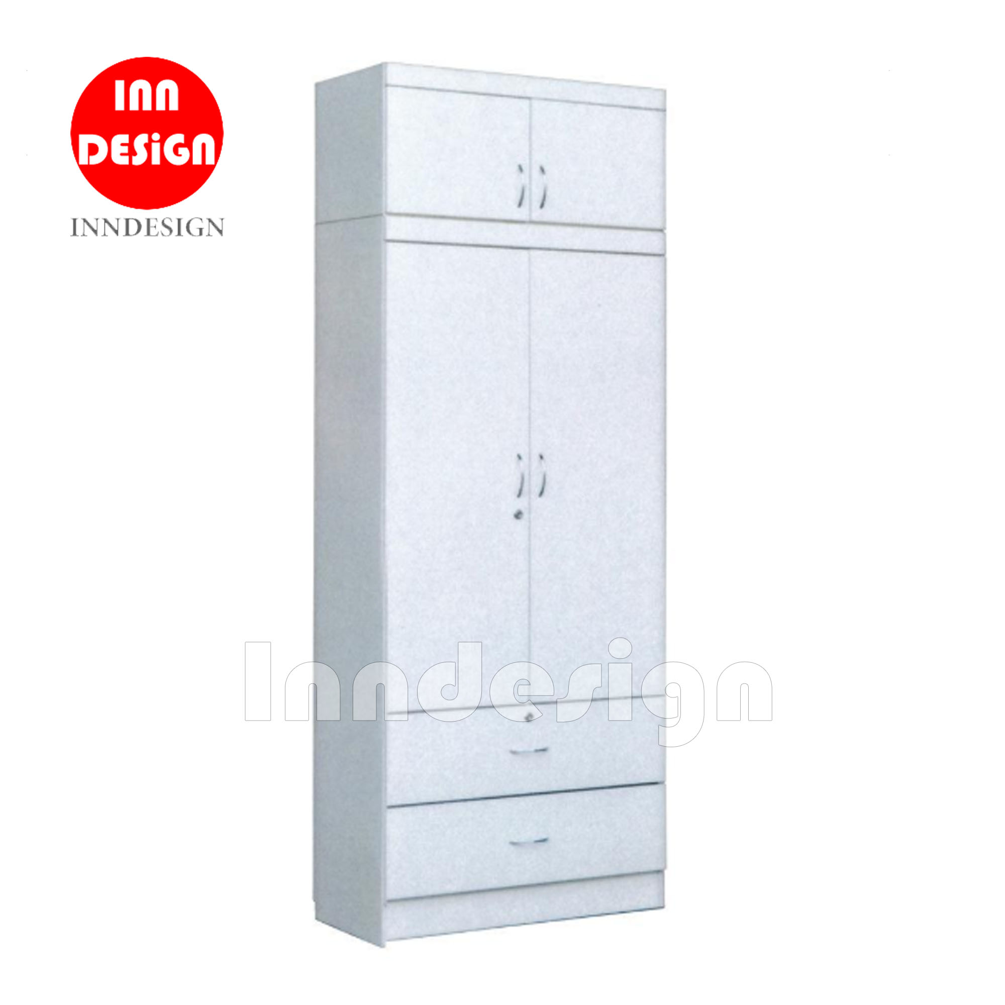 Jess 2 Doors Wardrobe with Top (White)